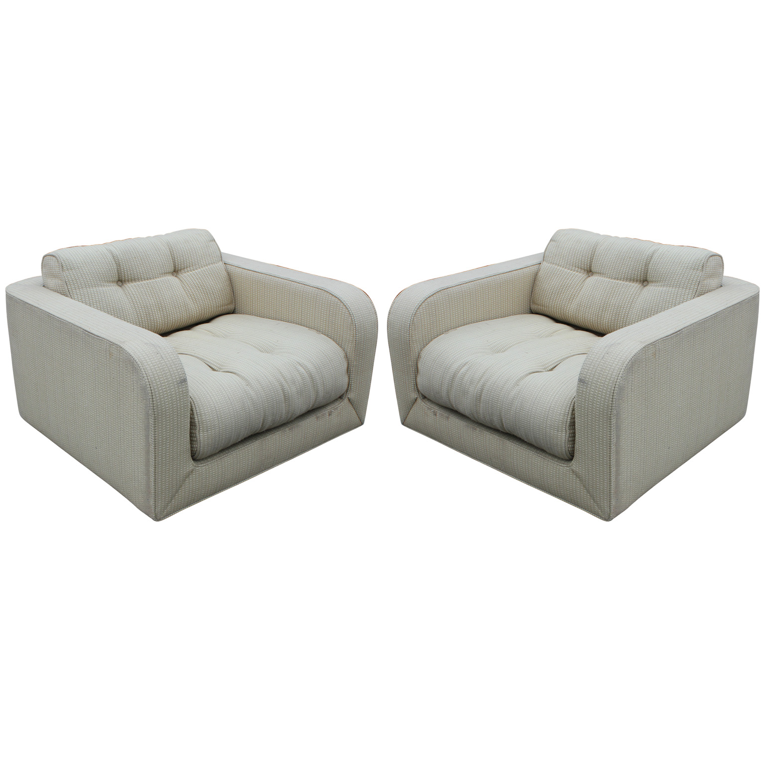 Wonderful Pair of Clean Lined Oversized Lounge Chairs