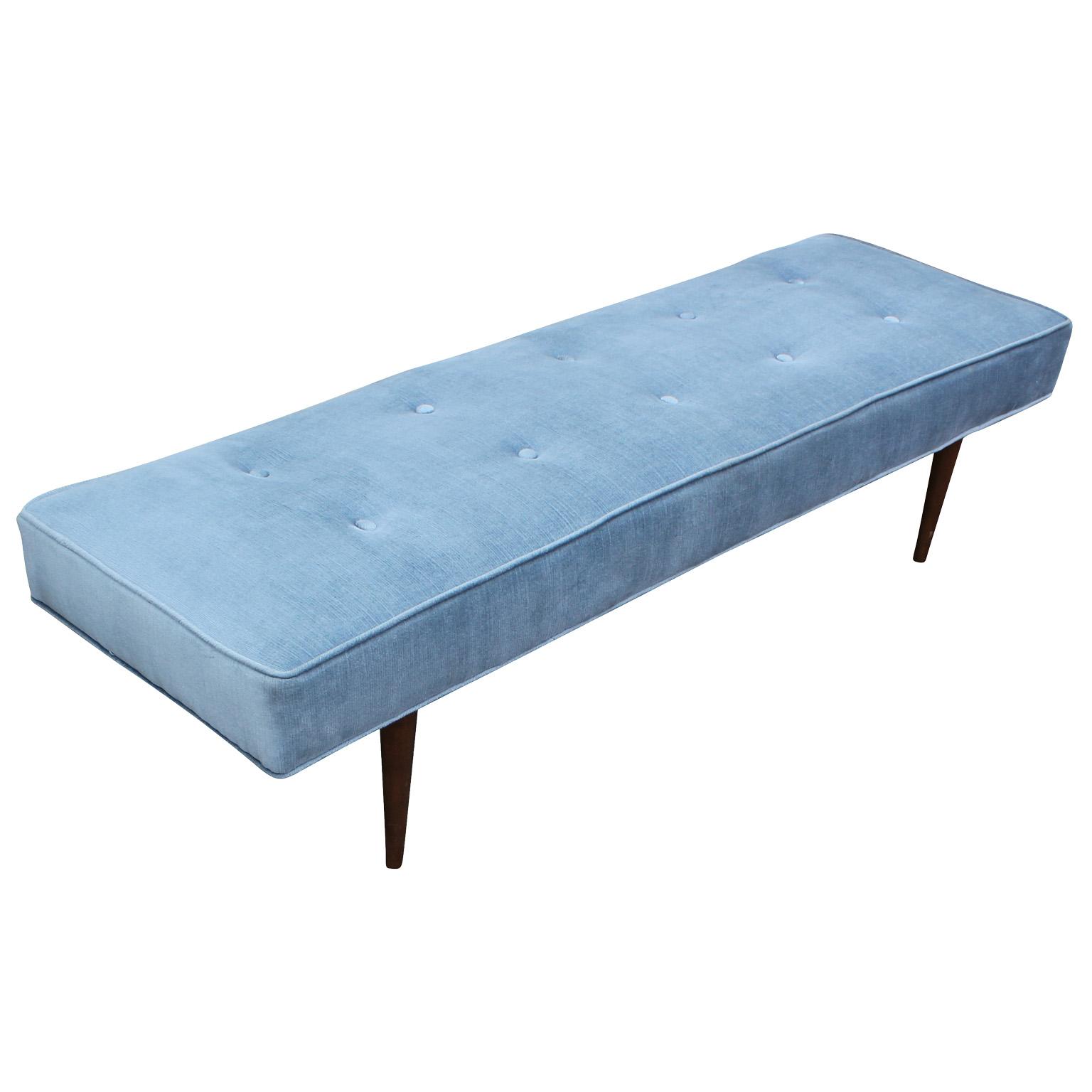 Elegant Milo Baughman Bench In Icy Blue Velvet