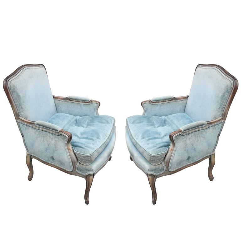 Pair Of French Louis XV Style Grey Stained Lounge Chairs Meyer Gunther  Martini