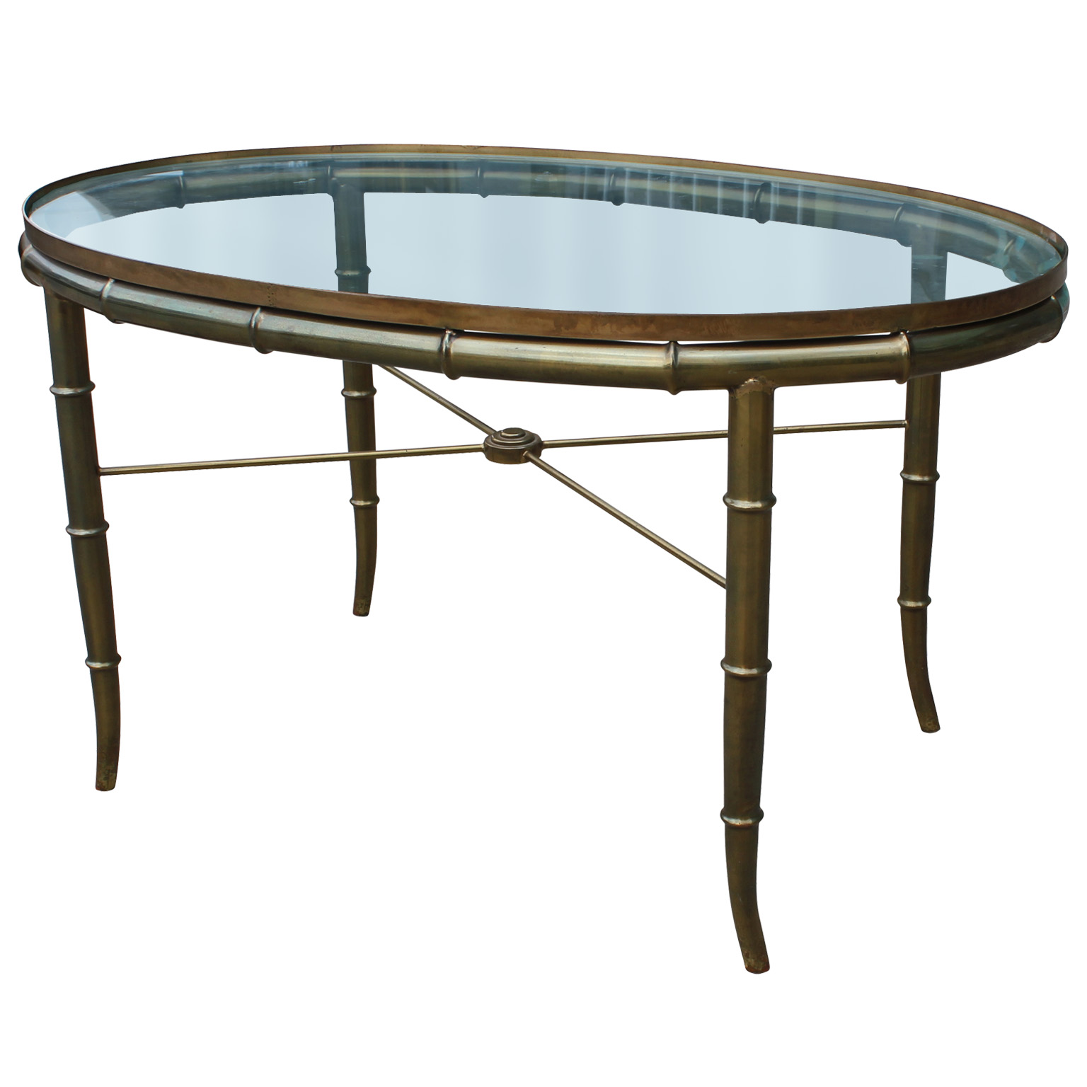 Brass faux bamboo side table in the style of maison baugues for Bamboo side table