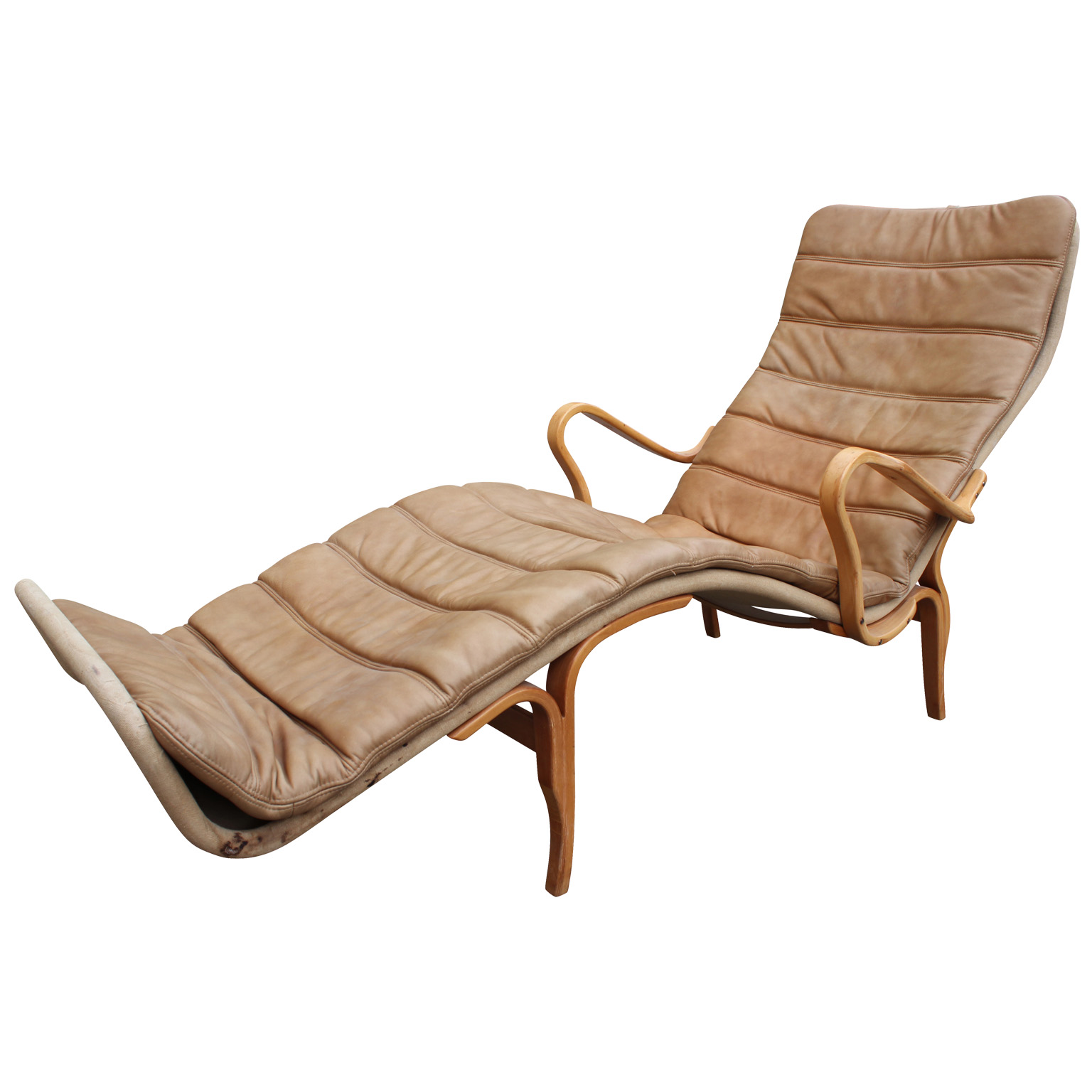 Bruno mathsson for dux pernille 3 chaise lounge chair in for Blue leather chaise lounge