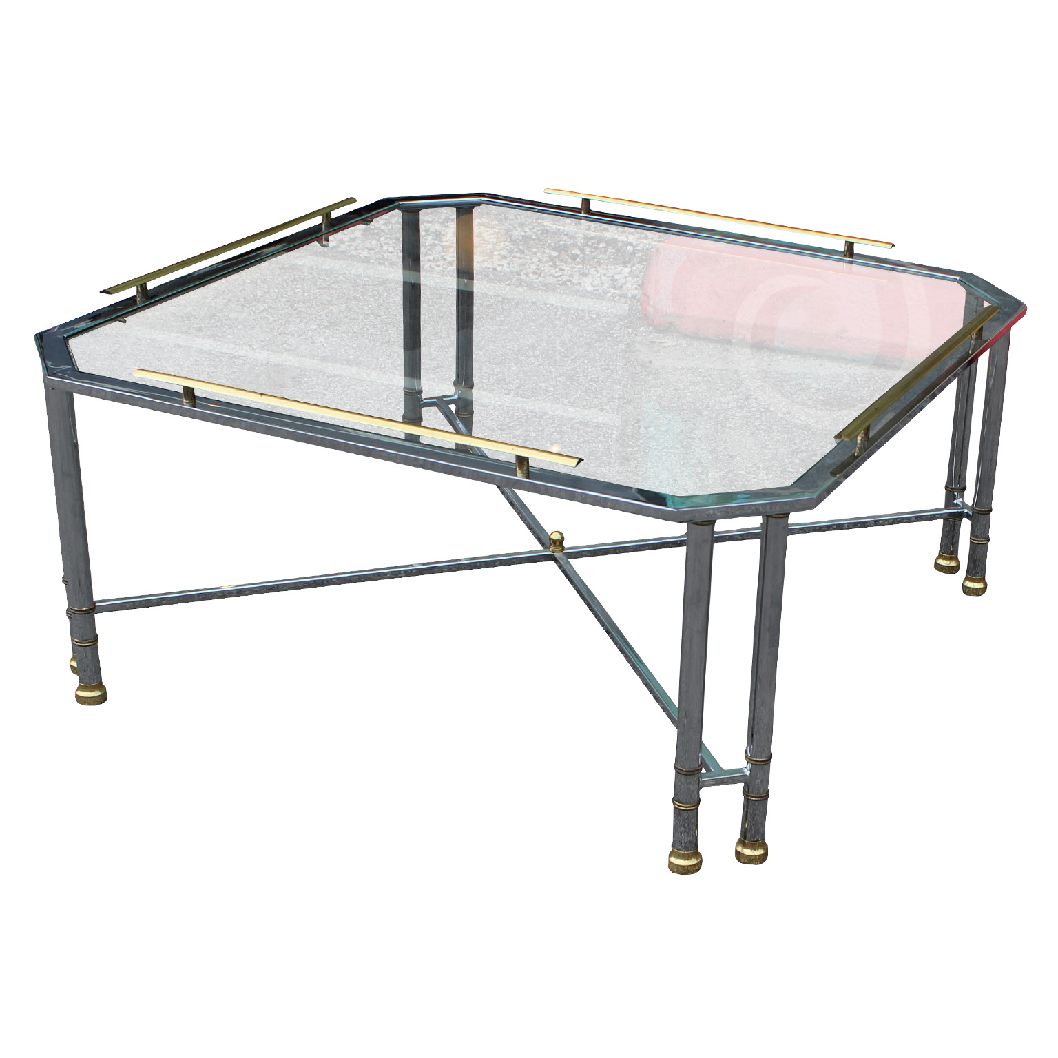 Elegant Chrome Brass And Glass French Square Coffee Table