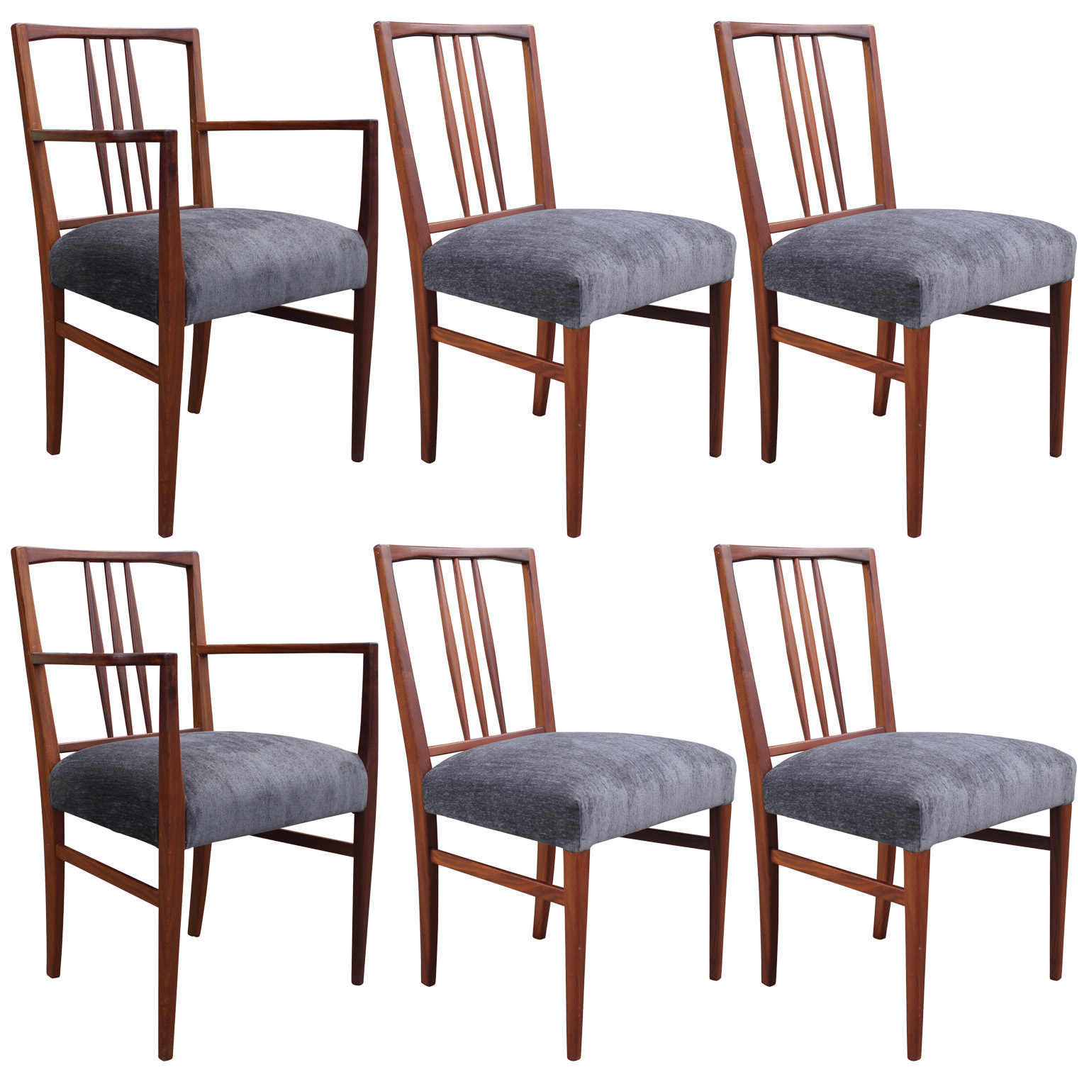 handsome set of six danish style teak dining chairs