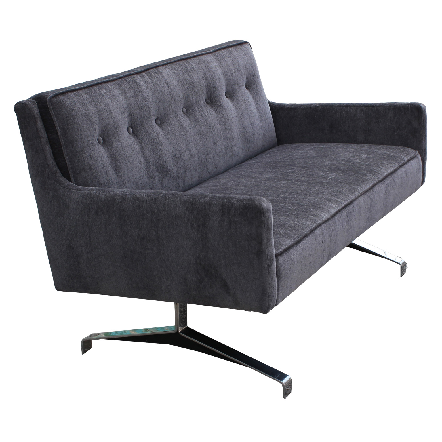 Plush Grey Velvet And Chrome Loveseat Or Settee