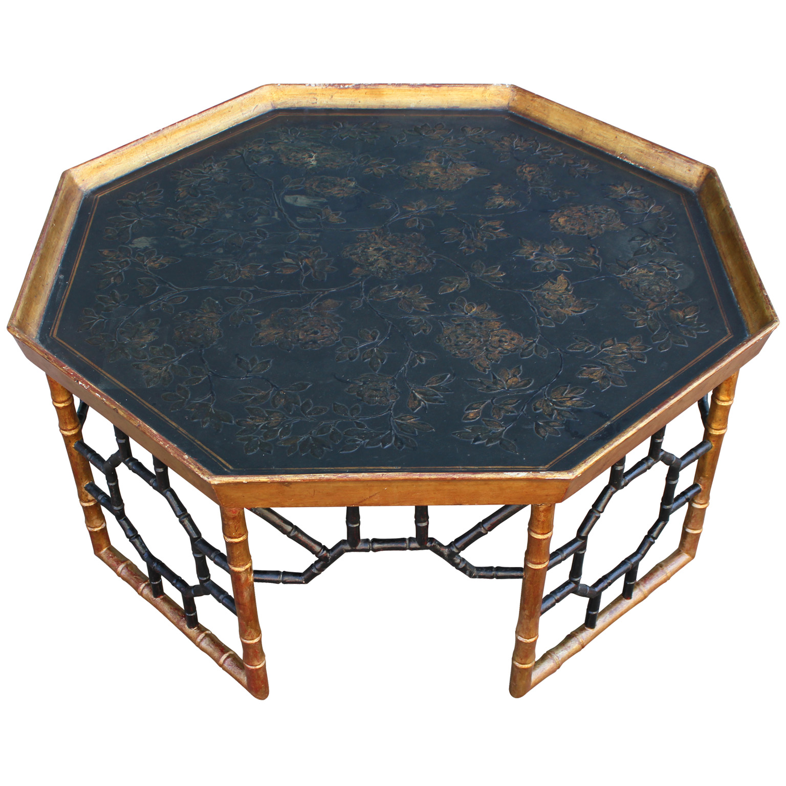 Elegant Italian Faux Bamboo Gold Leafed Tray Coffee Table
