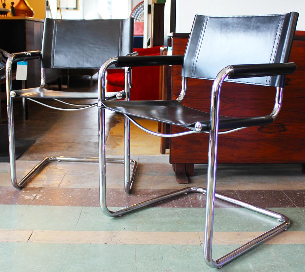 Wonderful Italian Leather Side Chairs, Tubular Steel, Chrome Chairs, Black  GE43