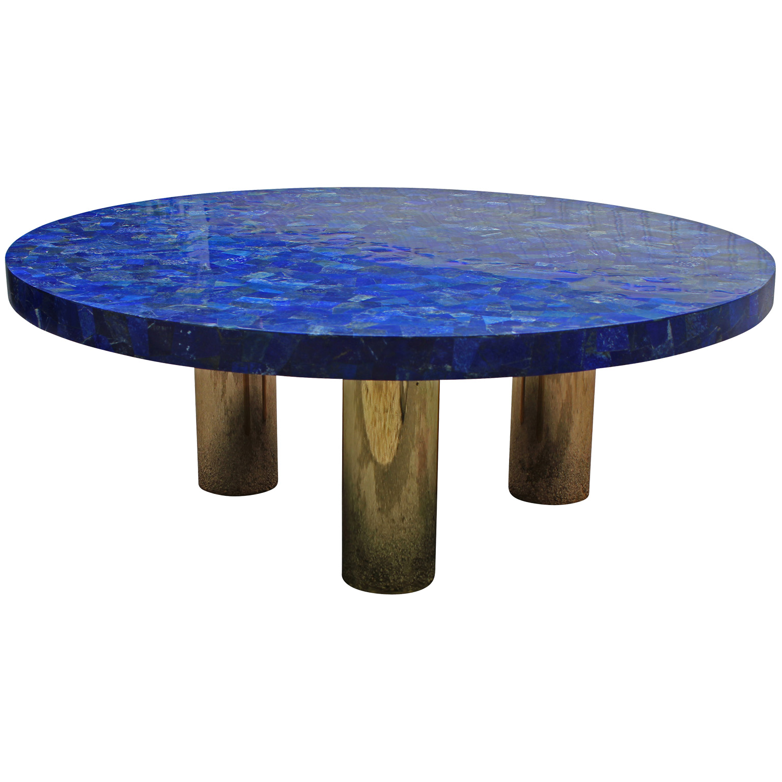 Large lucite chrome and brass coffee table at 1stdibs - Breathtaking Blue Lapis Lazuli Table With Polish Brass Legs