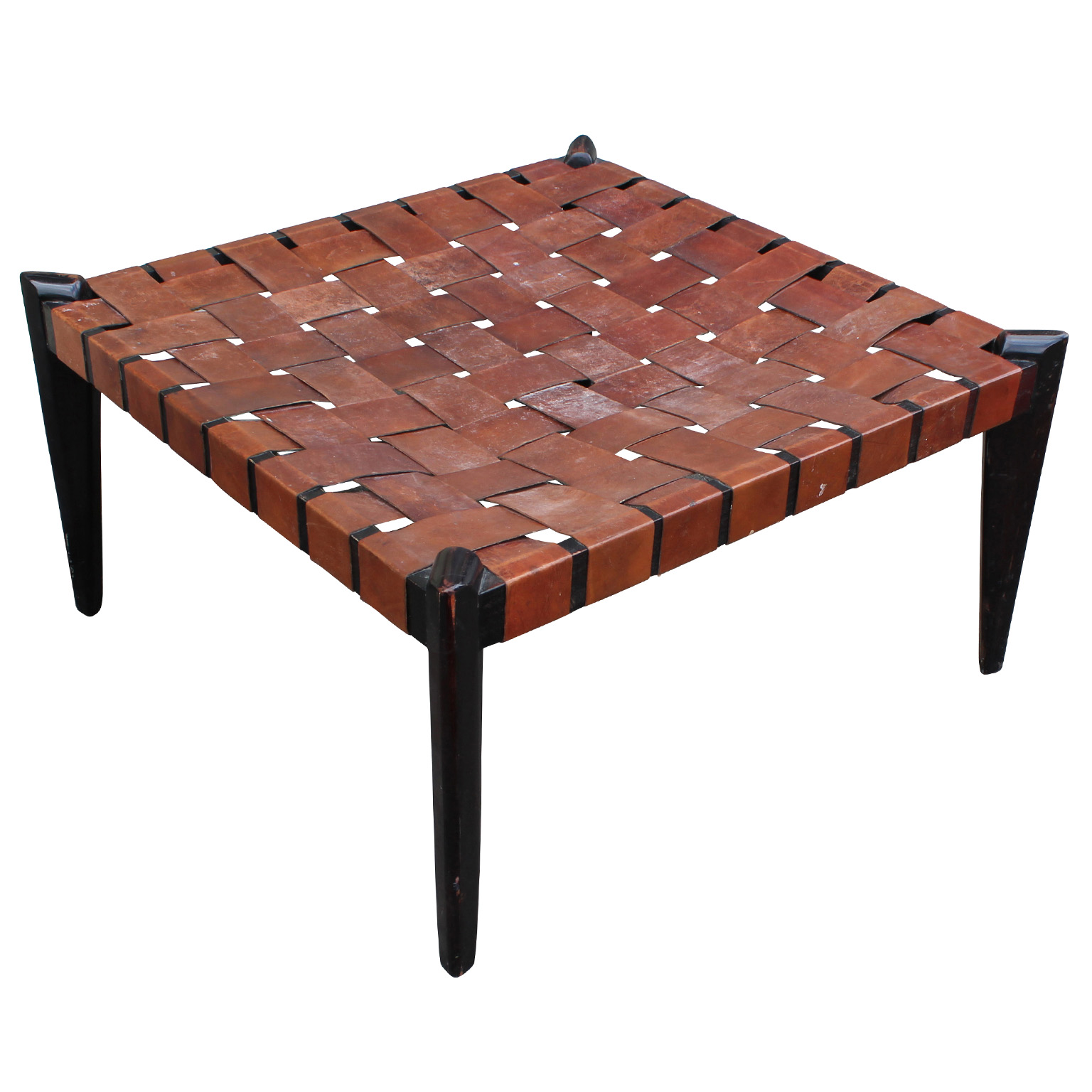 Fabulous large square woven leather bench or ottoman Square leather coffee table