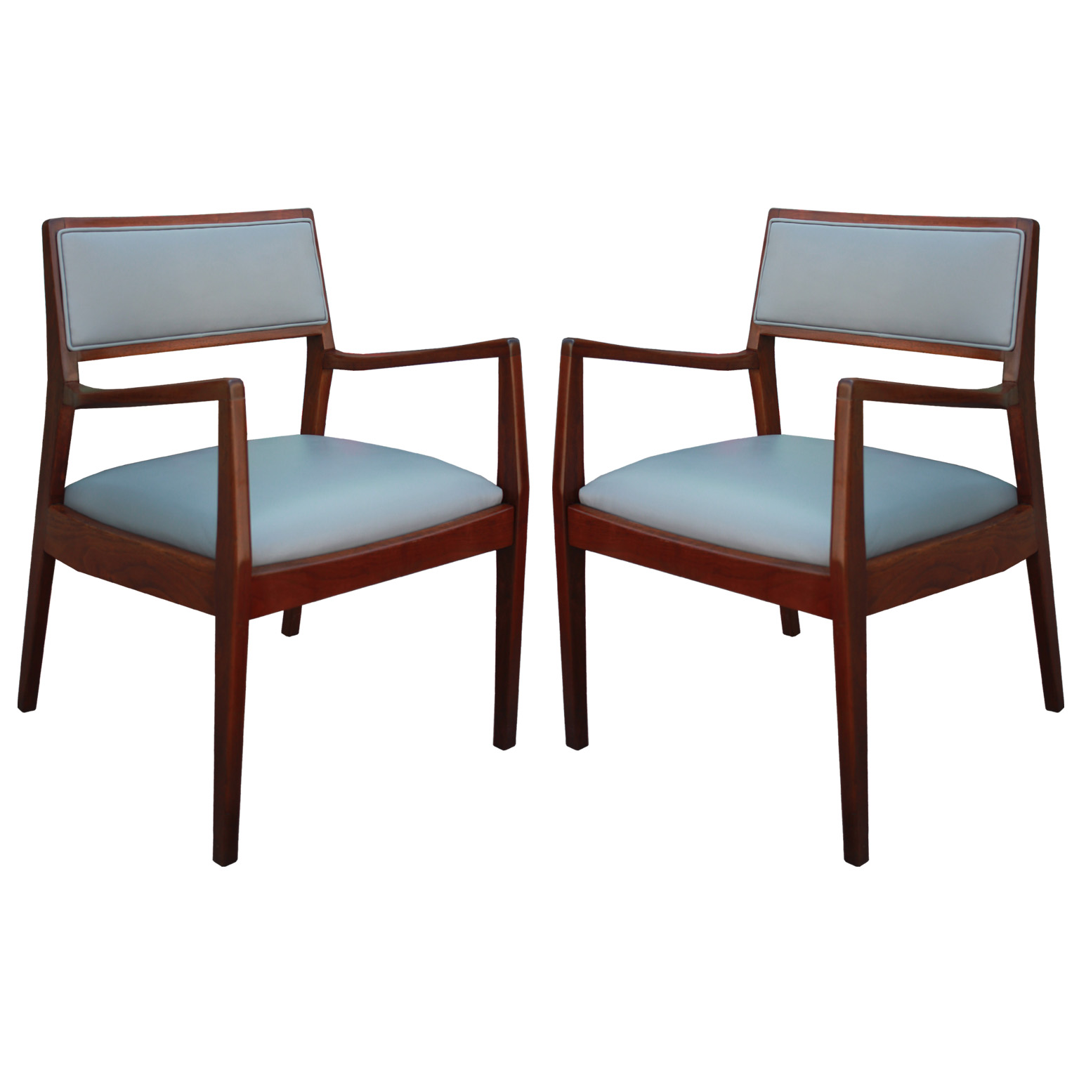 elegant pair of walnut jens risom lounge chairs in grey leather