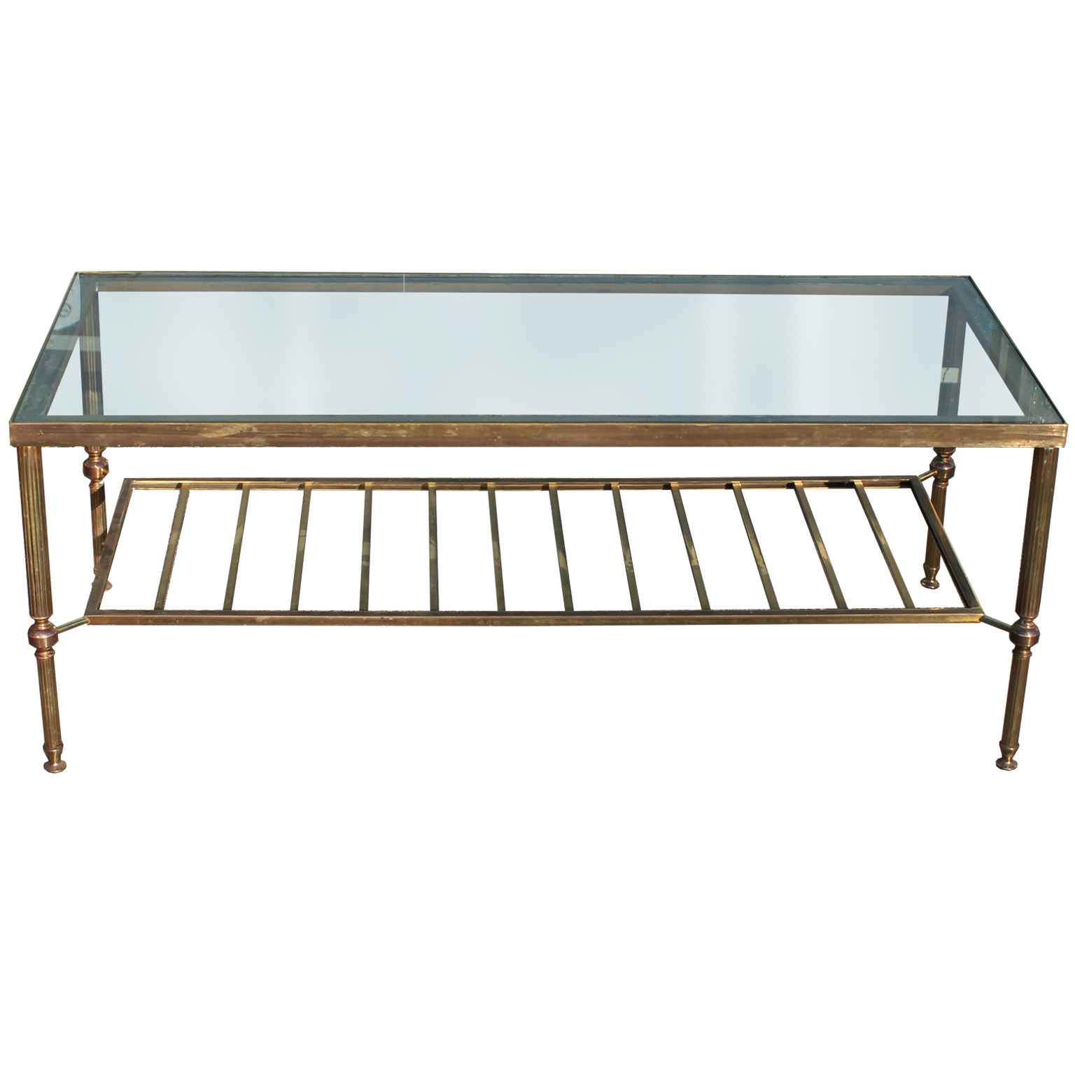 Elegant Brass And Glass Coffee Table