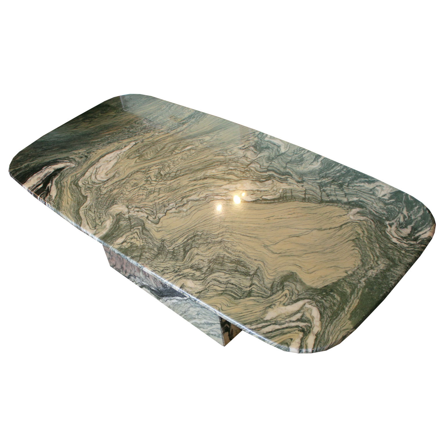 Striking Green and White Marble Coffee Table