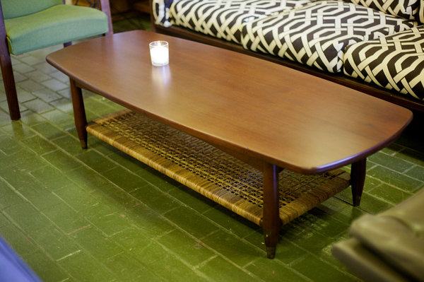 Danish Cane Shelf Coffee Table