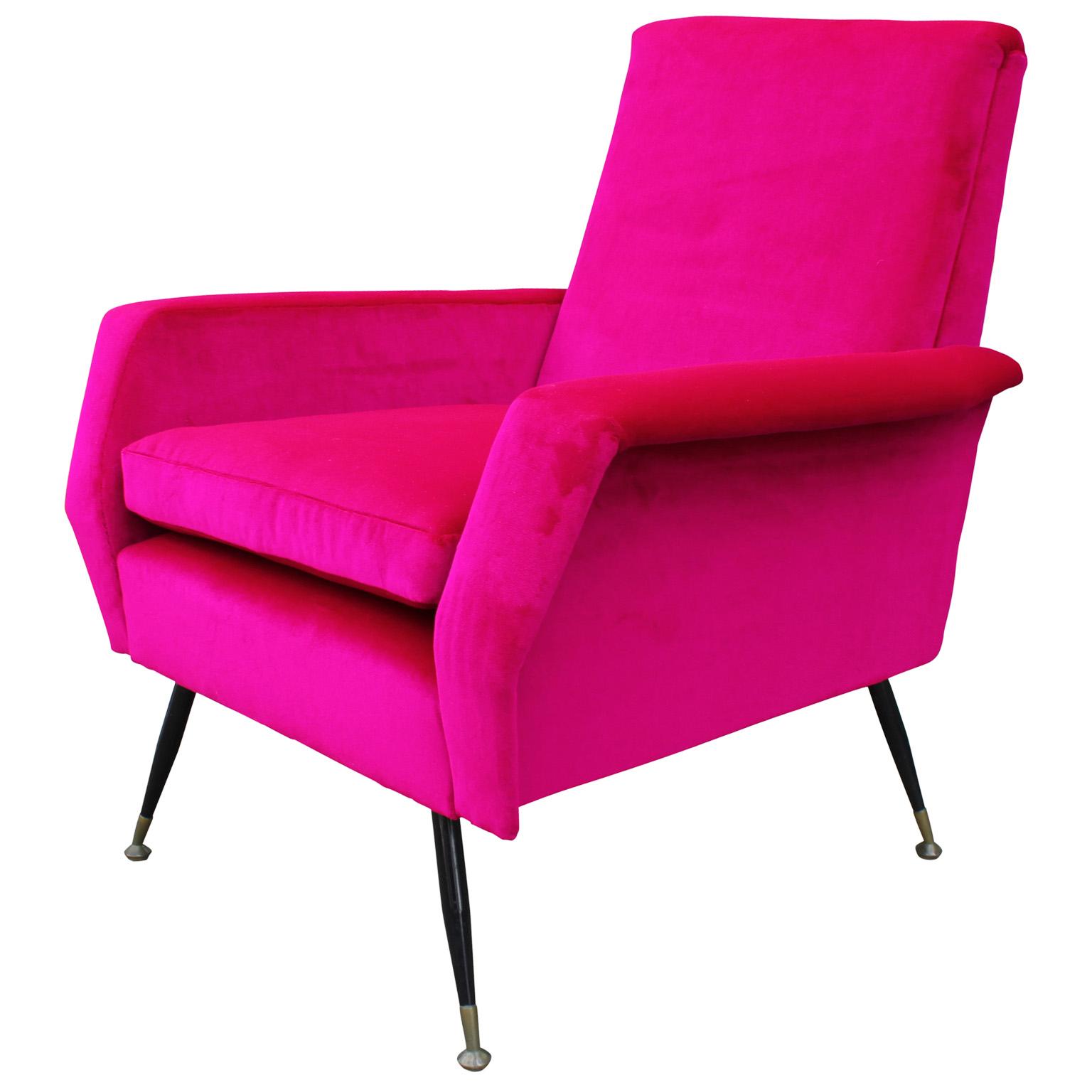 Incredible Bold Pink Velvet Italian Lounge Chair