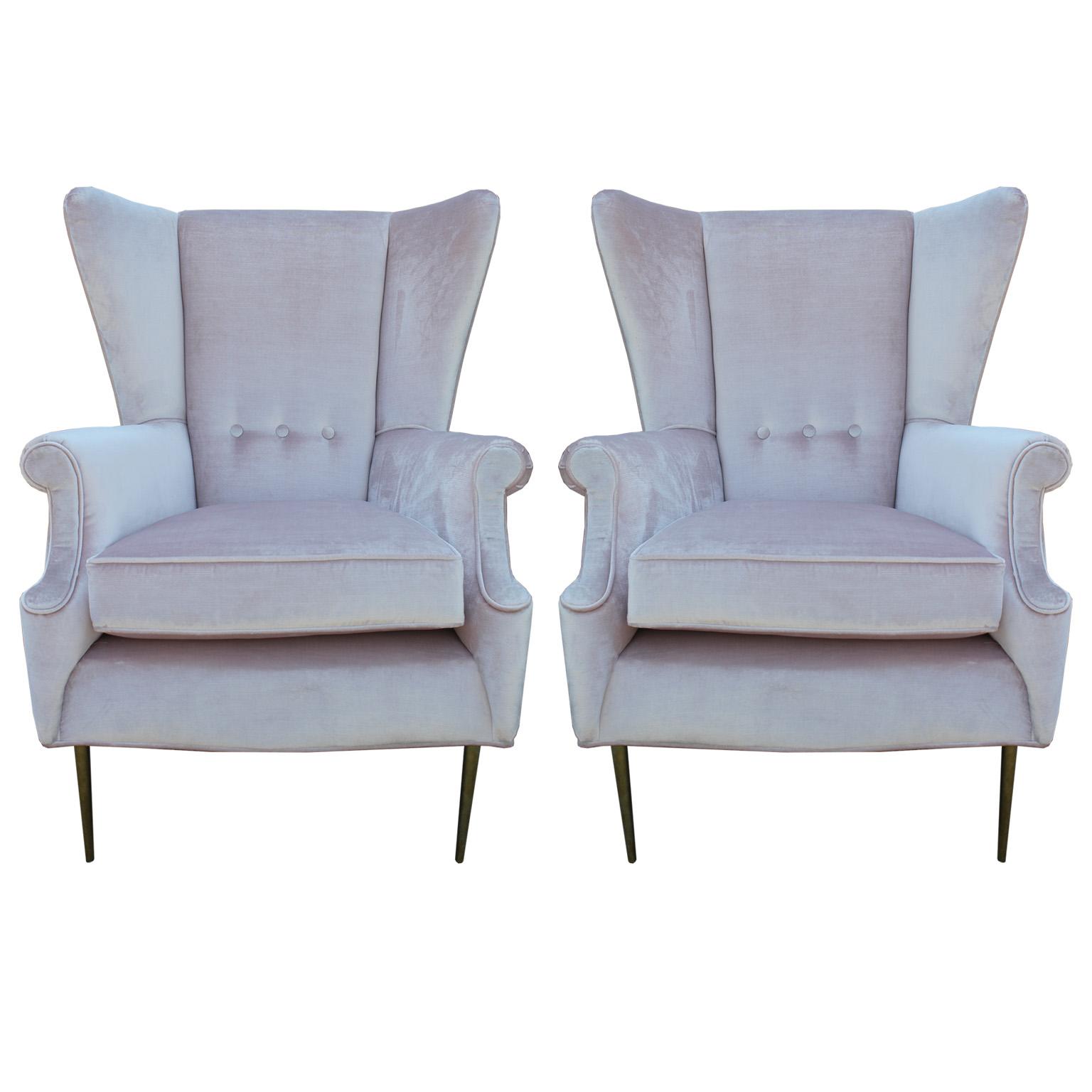 Luxe Pair of Brass Legged Italian Wingback Chairs : pink wingback2 1 from www.reevesantiqueshouston.com size 1536 x 1536 jpeg 257kB