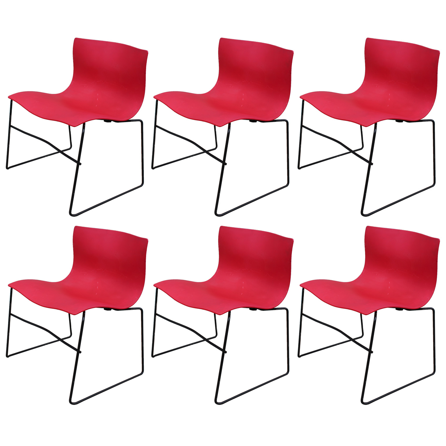 Set Of 6 Red Knoll Handkerchief Chairs By Massimo Vignelli