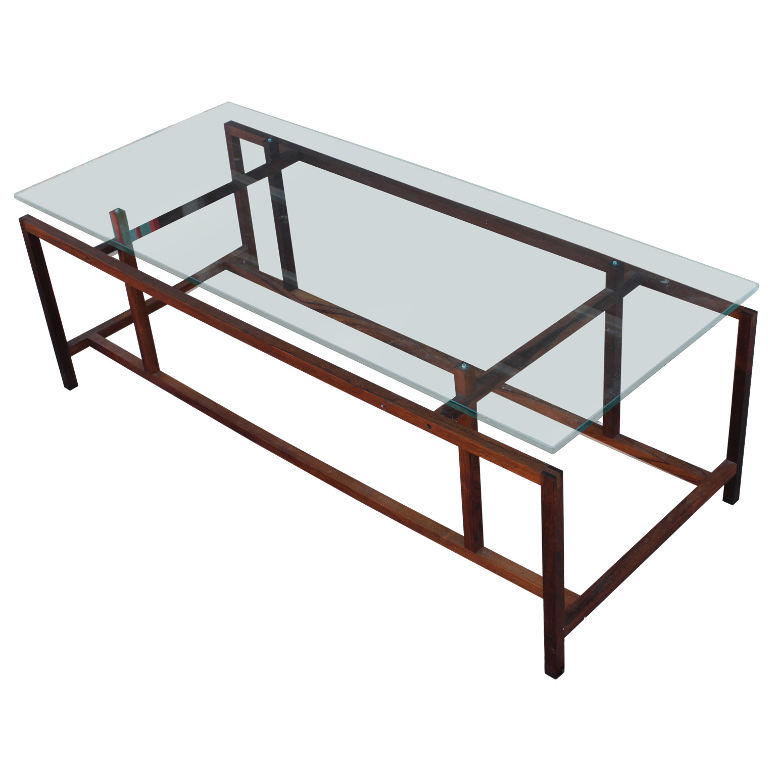 Architectural henning norgaard rosewood and glass coffee for Architectural coffee table