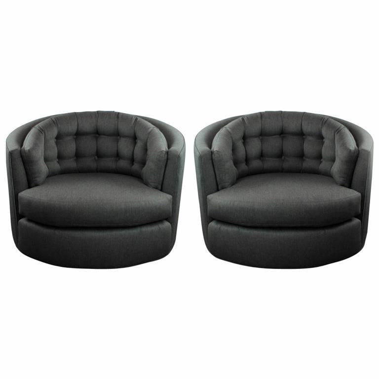 Tufted Milo Baughman Barrel Chairs