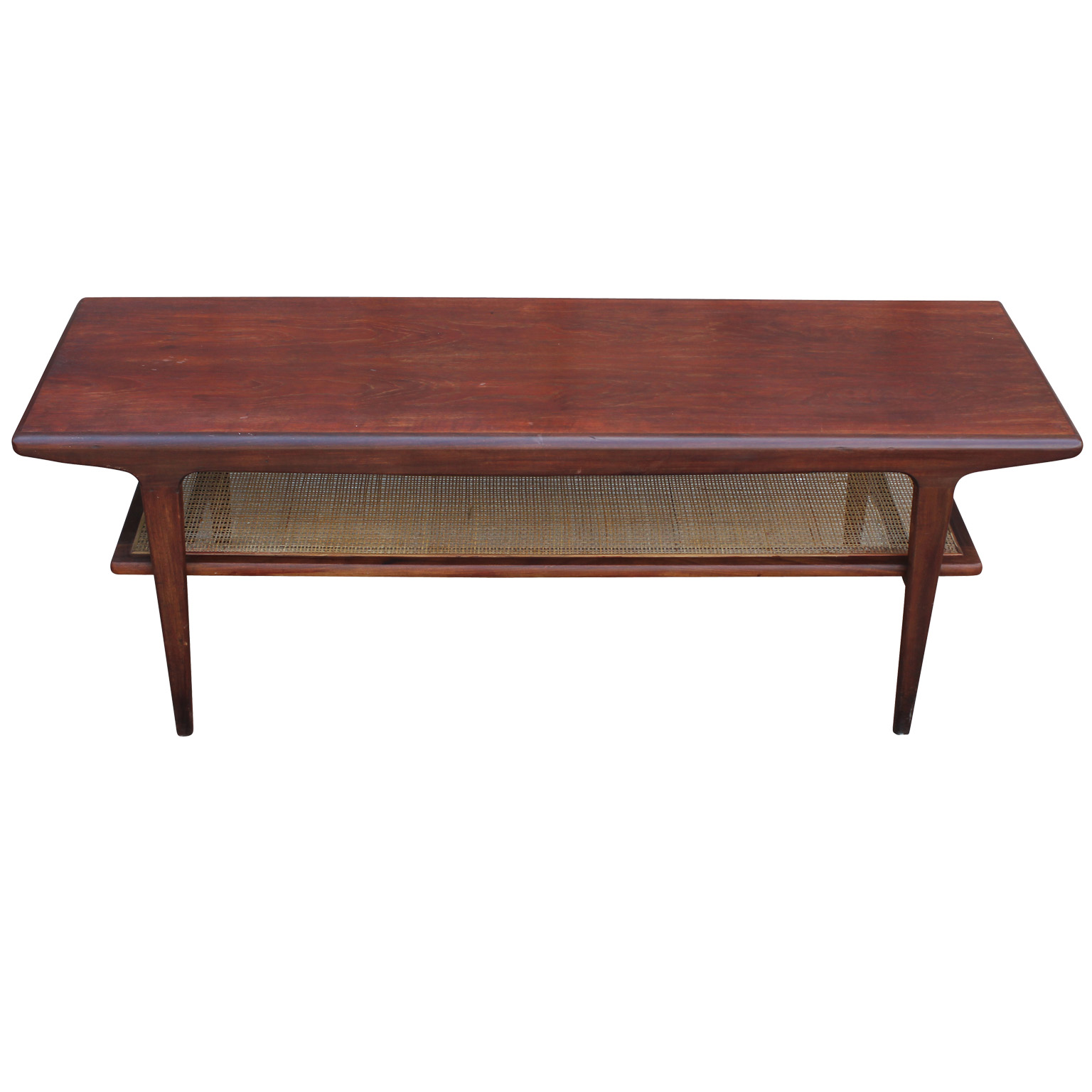 Danish Teak Coffee Table With Cane Shelf