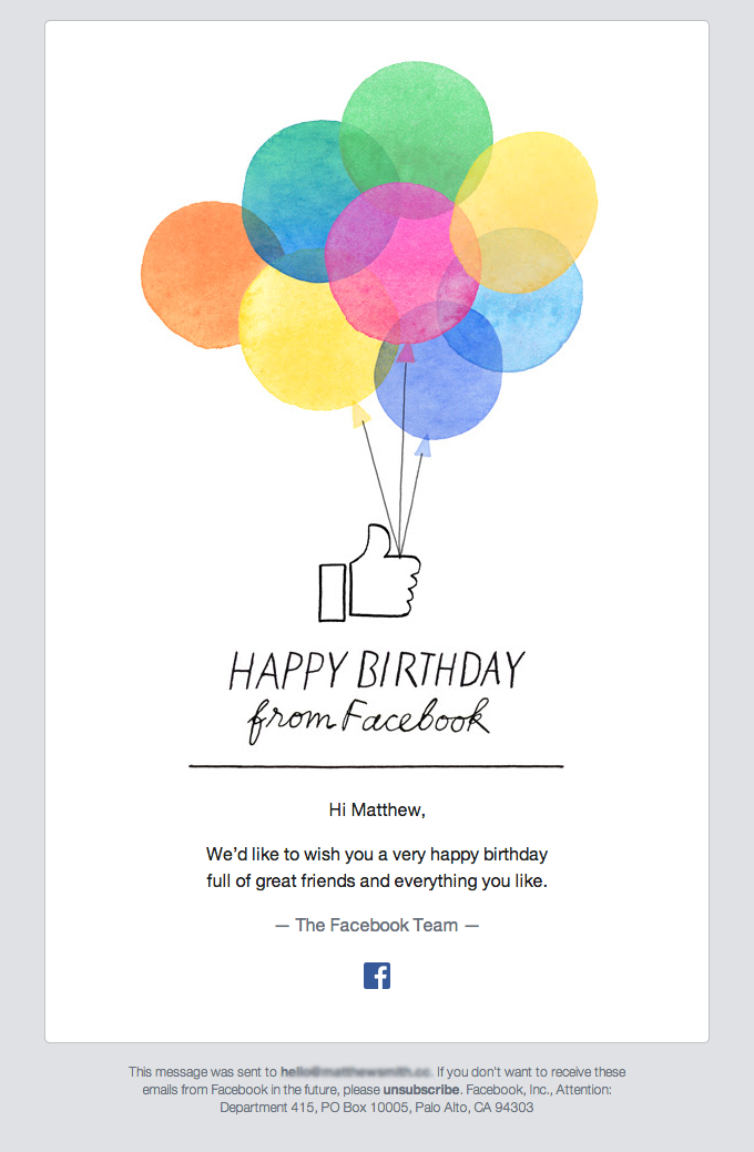 Birthday campaign from Facebook