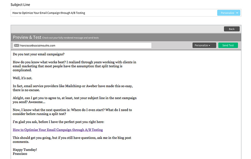 Aweber email preview