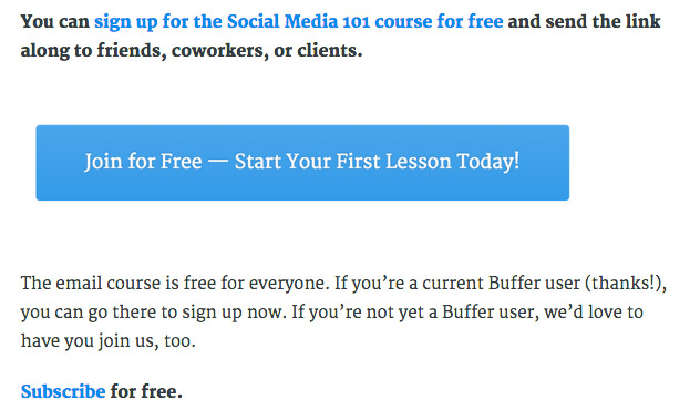 Buffer email course