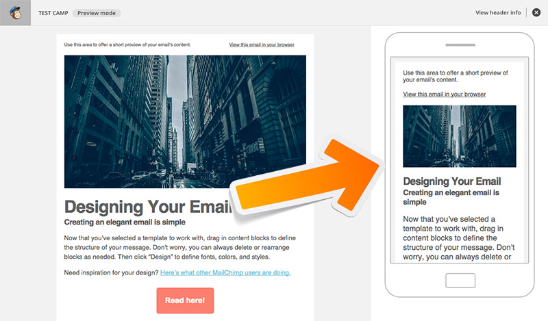 Mailchimp mobile preview