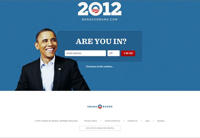 Obama's signup form
