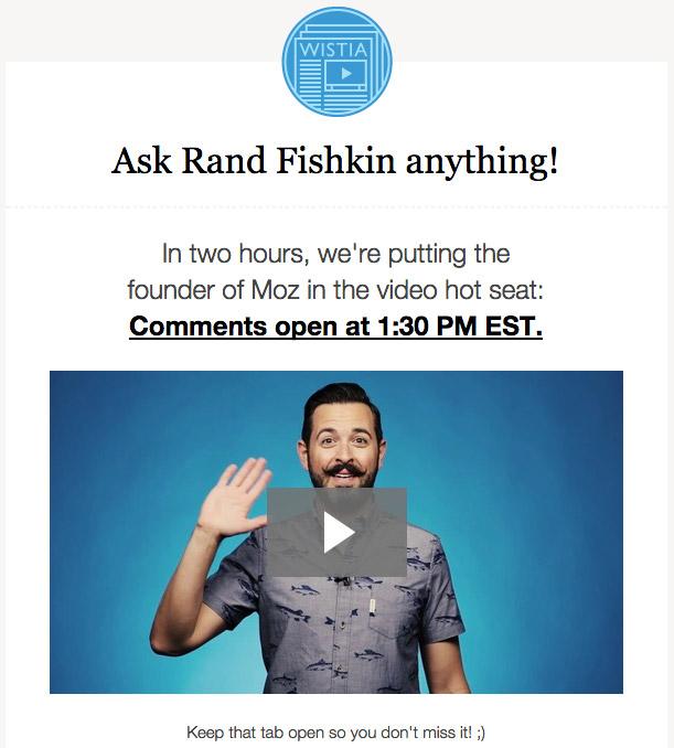 Wistia video in email