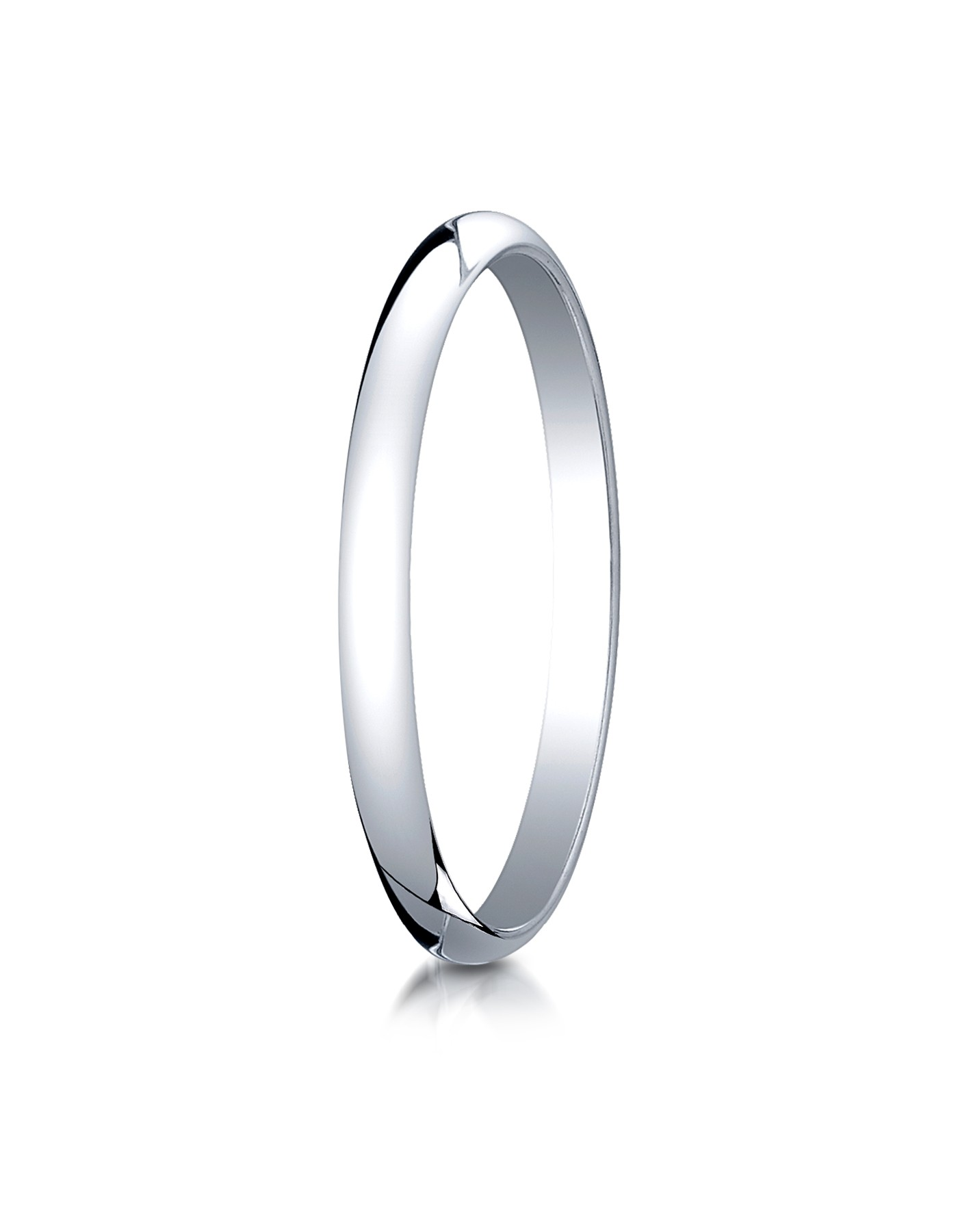14k White Gold 2.0 Mm Slightly Domed Traditional Oval Ring