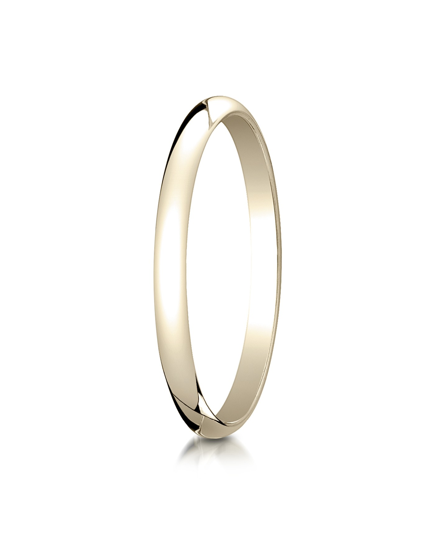 18k Yellow Gold 2.0 Mm Slightly Domed Traditional Oval Ring