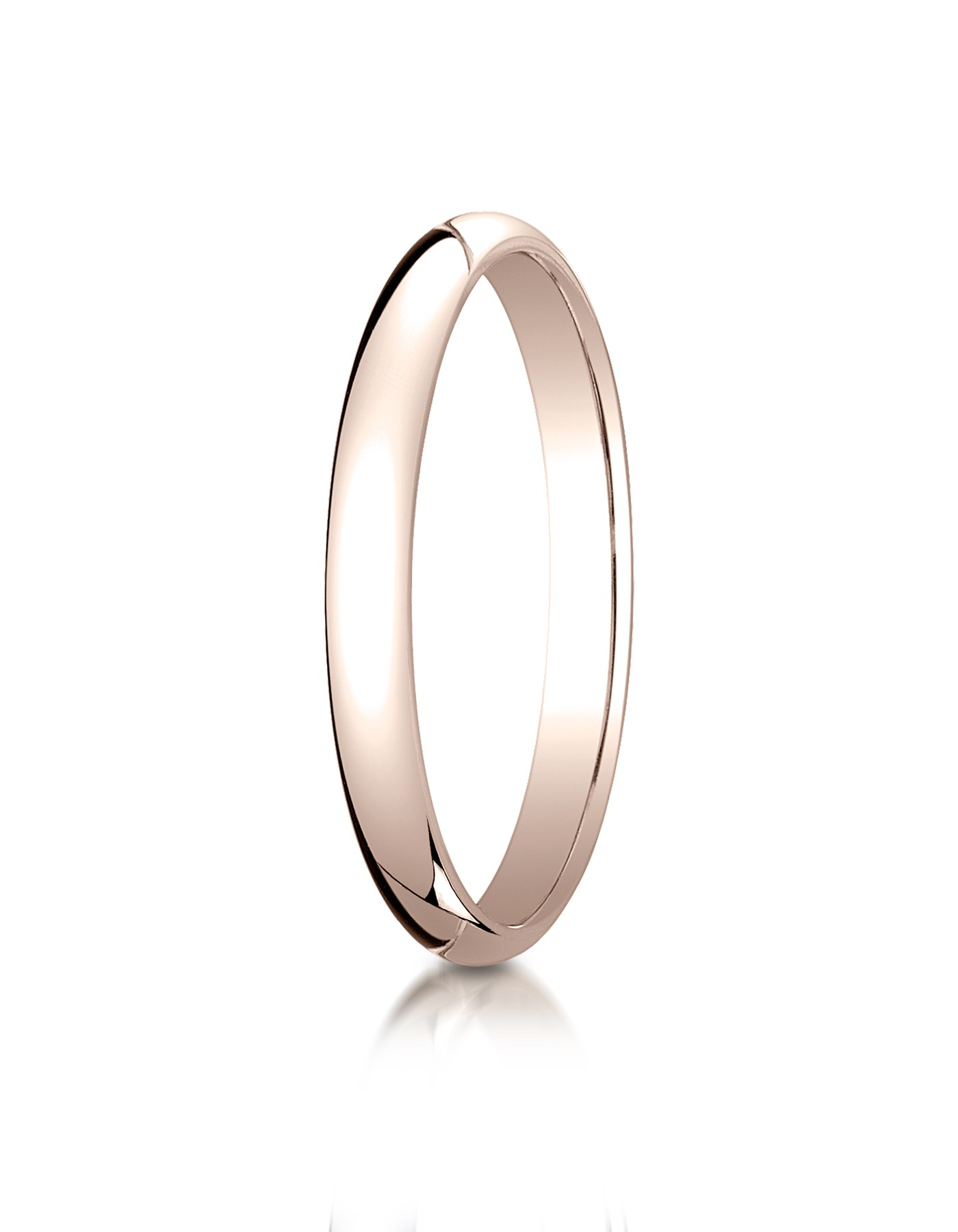 14k Rose Gold 2.5 Mm Slightly Domed Traditional Oval Ring