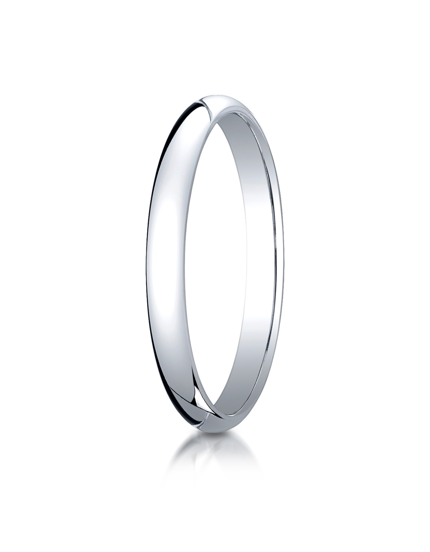14k White Gold 2.5 Mm Slightly Domed Traditional Oval Ring