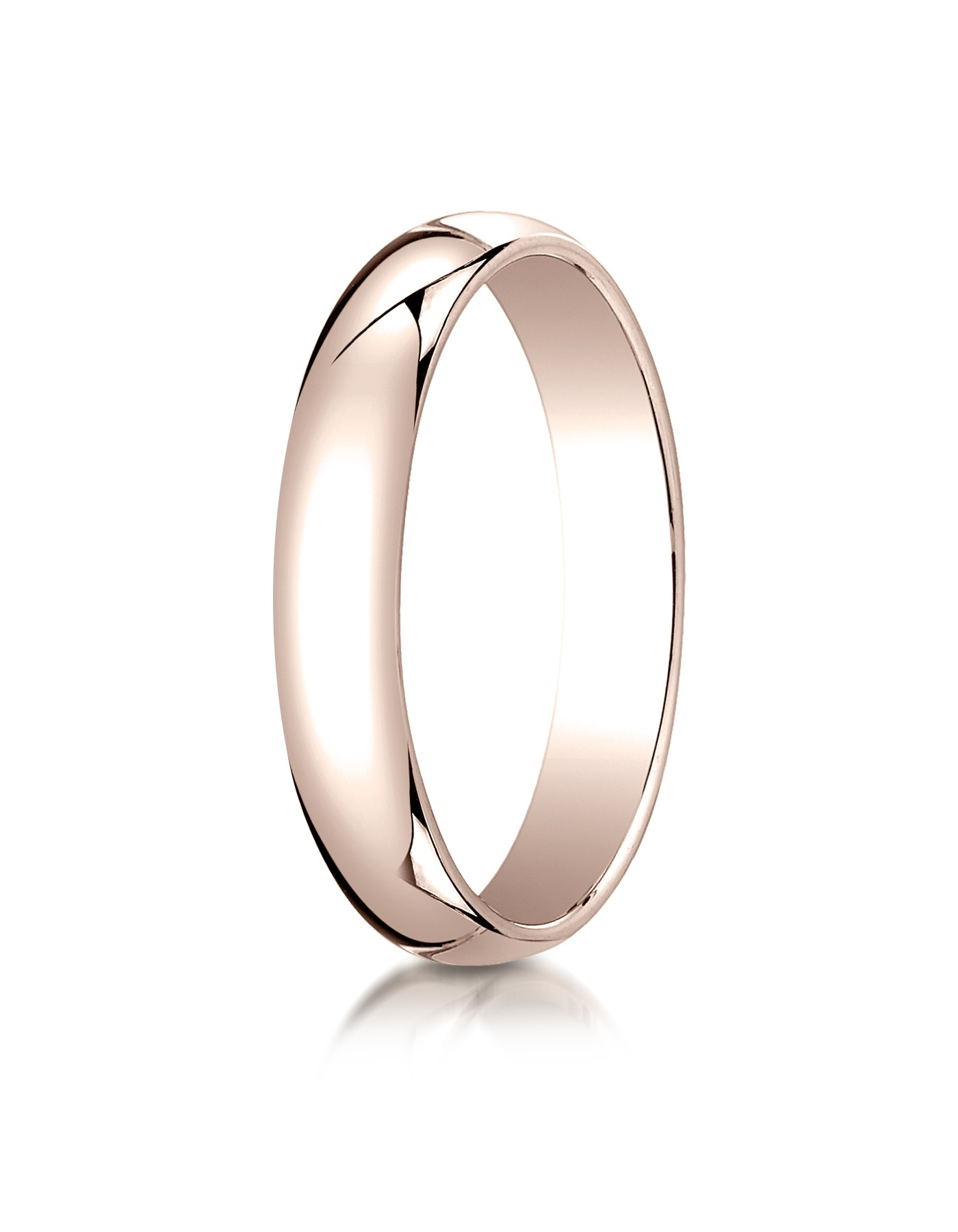 14k Rose Gold 4mm Slightly Domed Traditional Oval Ring