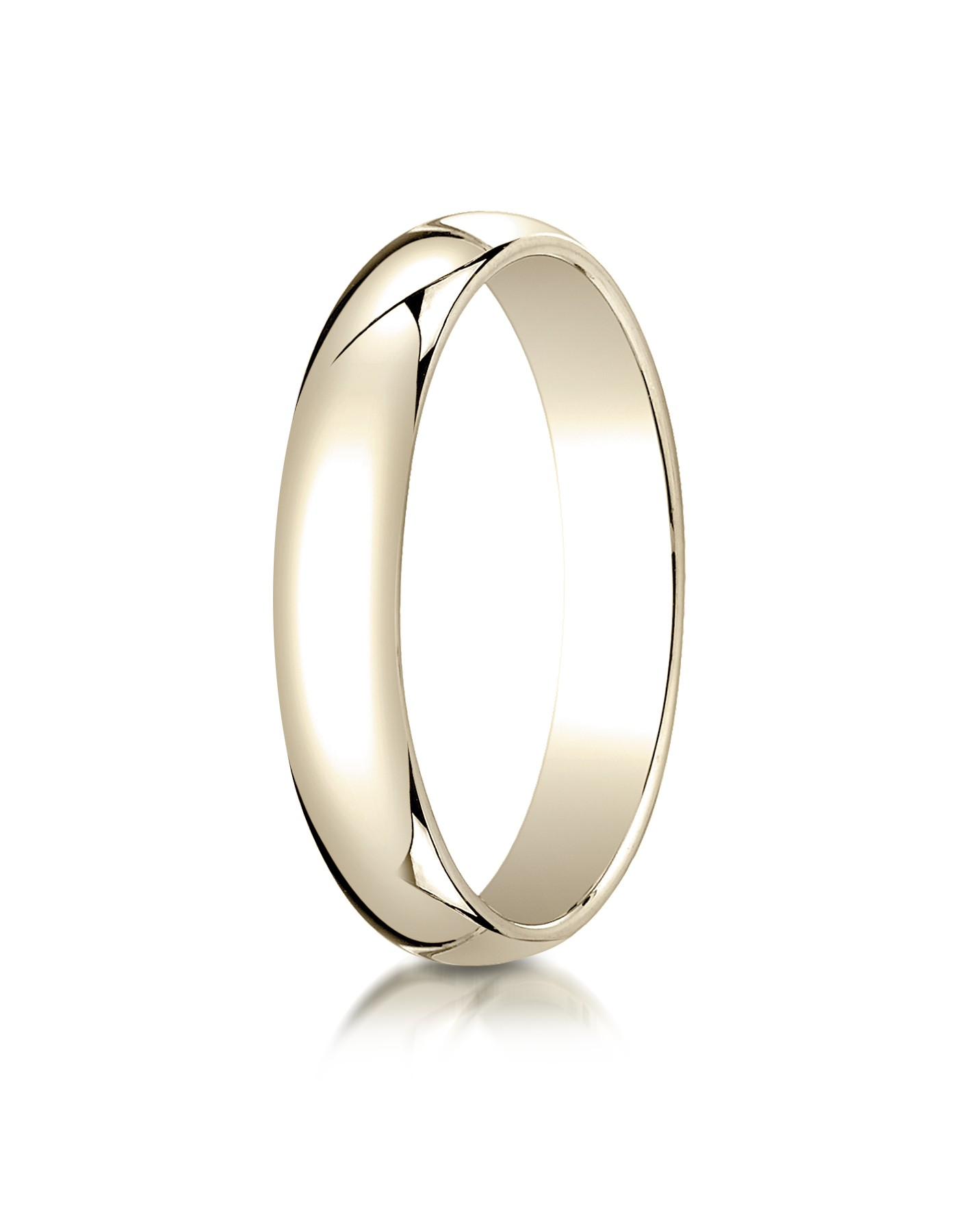 14k Yellow Gold 4mm Slightly Domed Traditional Oval Ring