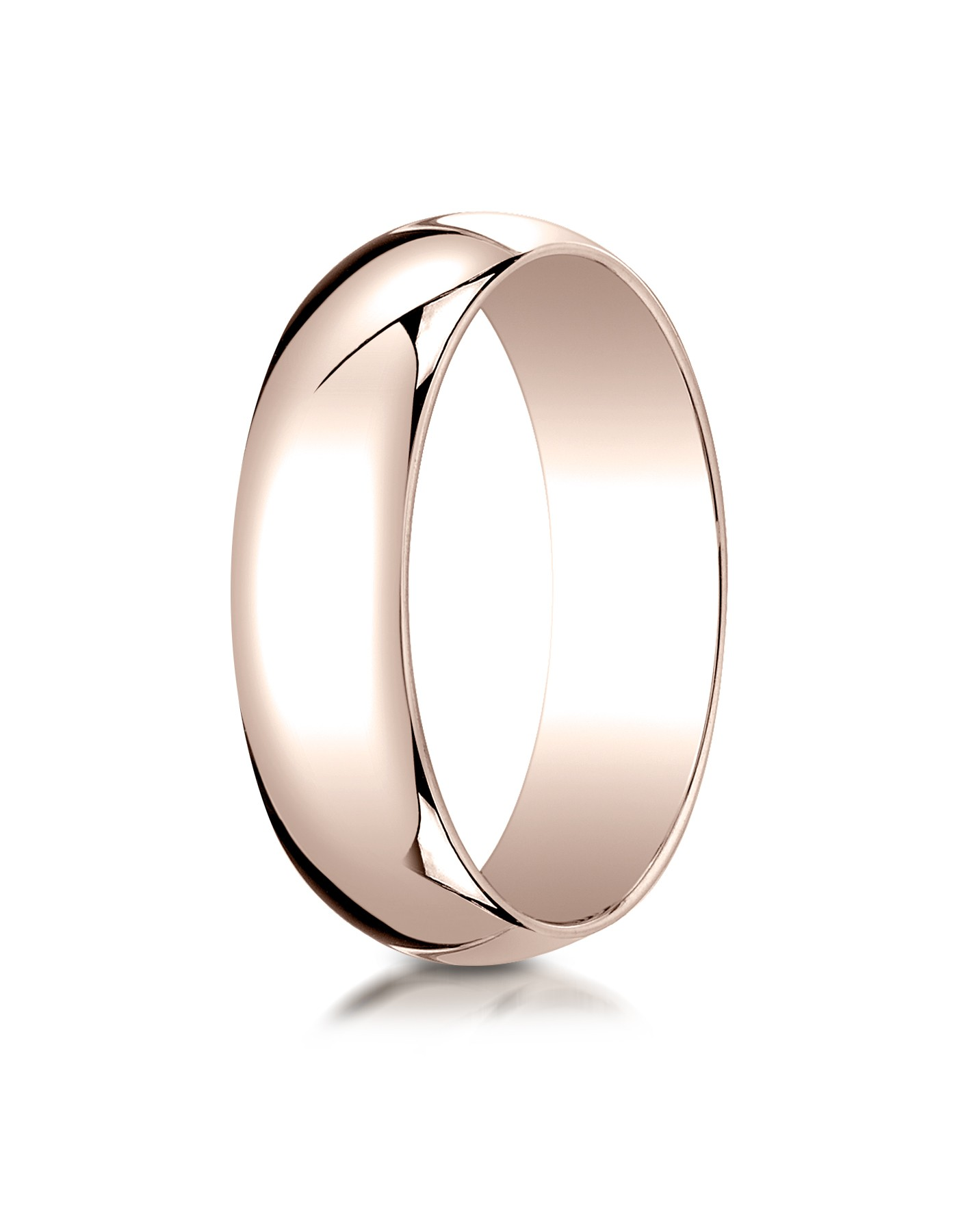 14k Rose Gold 6mm Slightly Domed Traditional Oval Ring