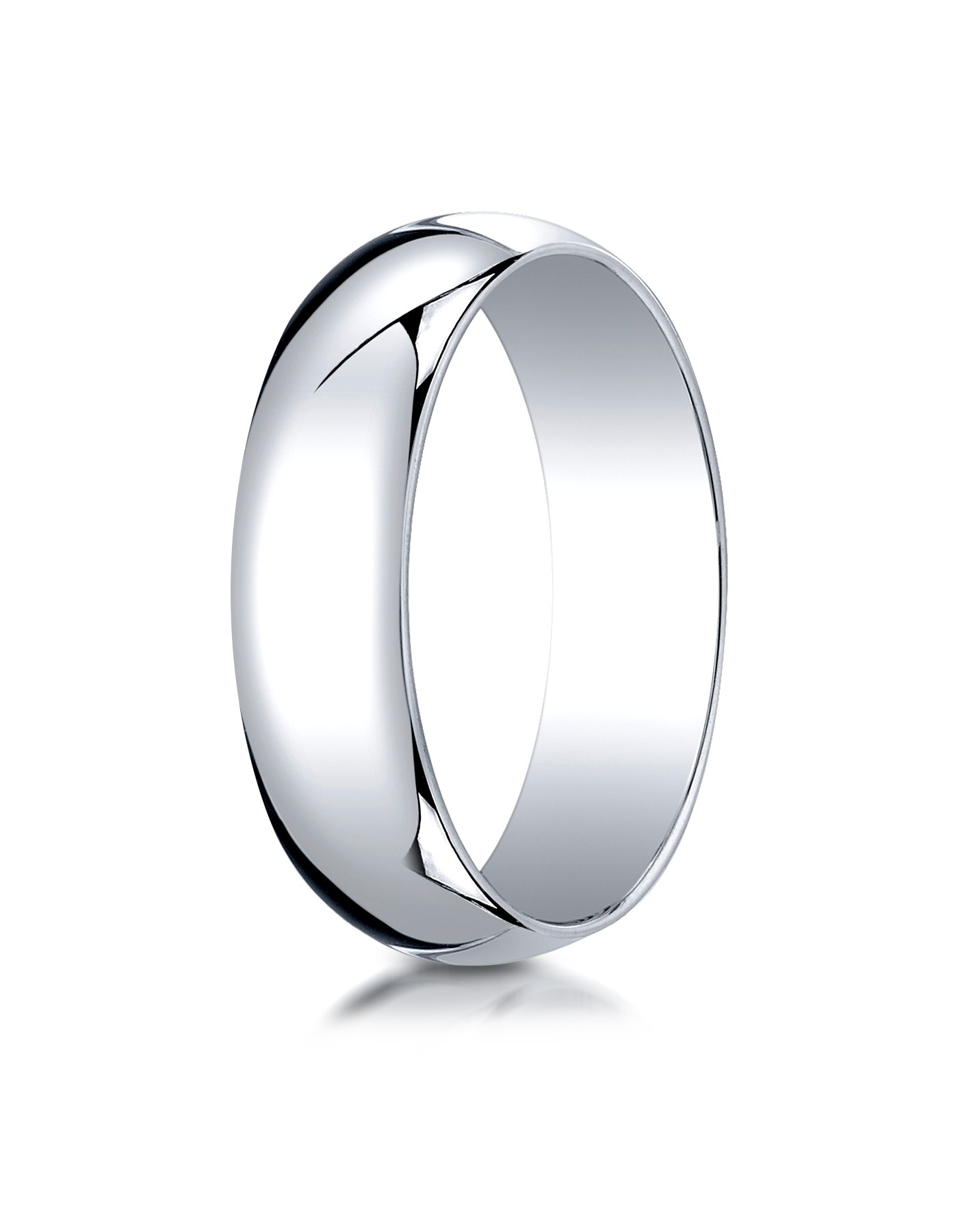 14k White Gold 6mm Slightly Domed Traditional Oval Ring