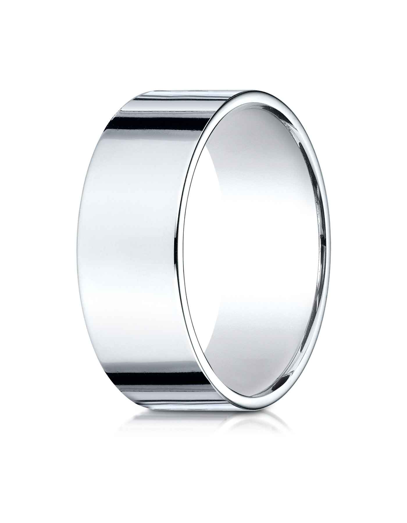 14k White Gold 8 Mm Traditional Flat Ring
