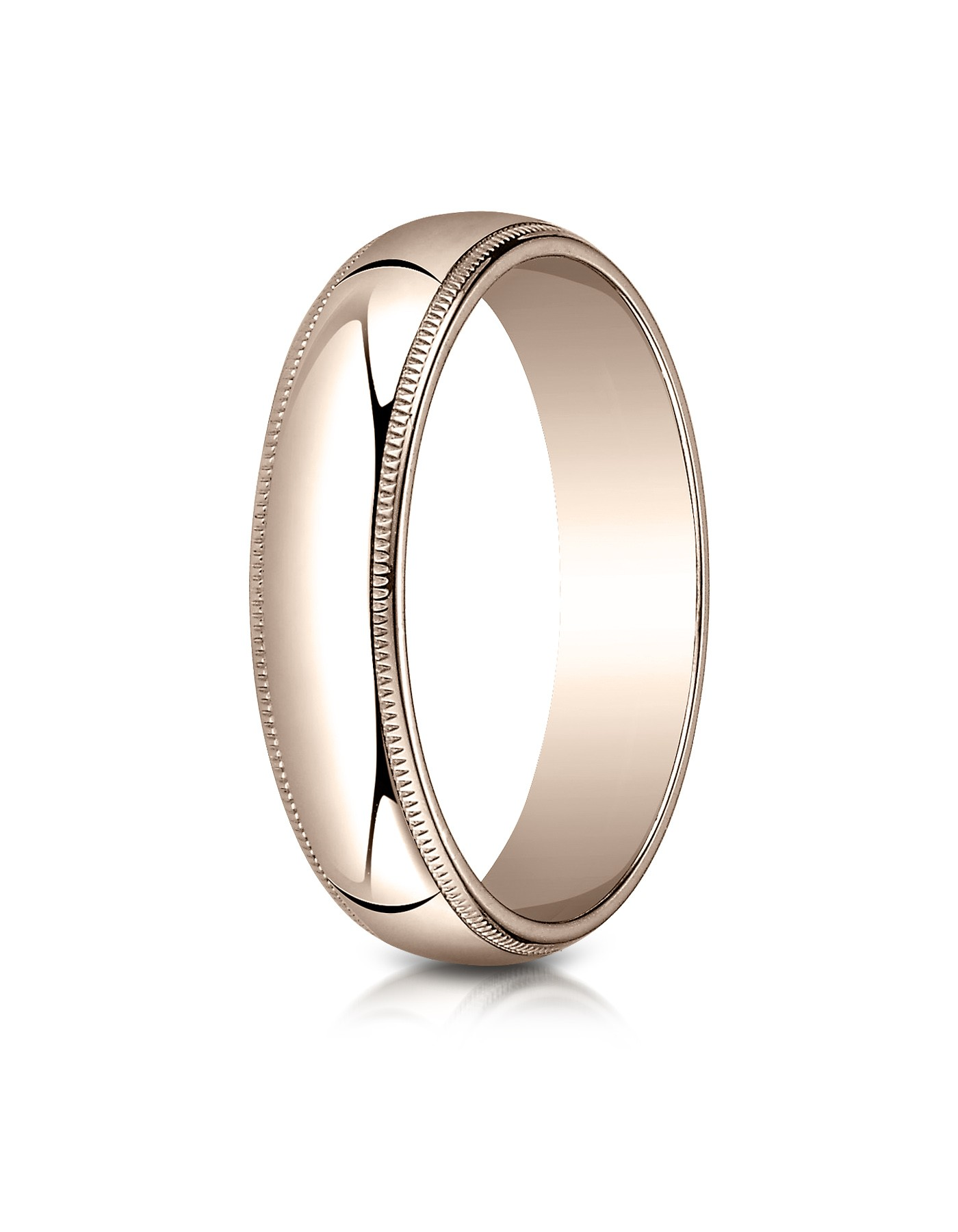 14k Rose Gold 5mm Slightly Domed Traditional Oval Ring With Milgrain