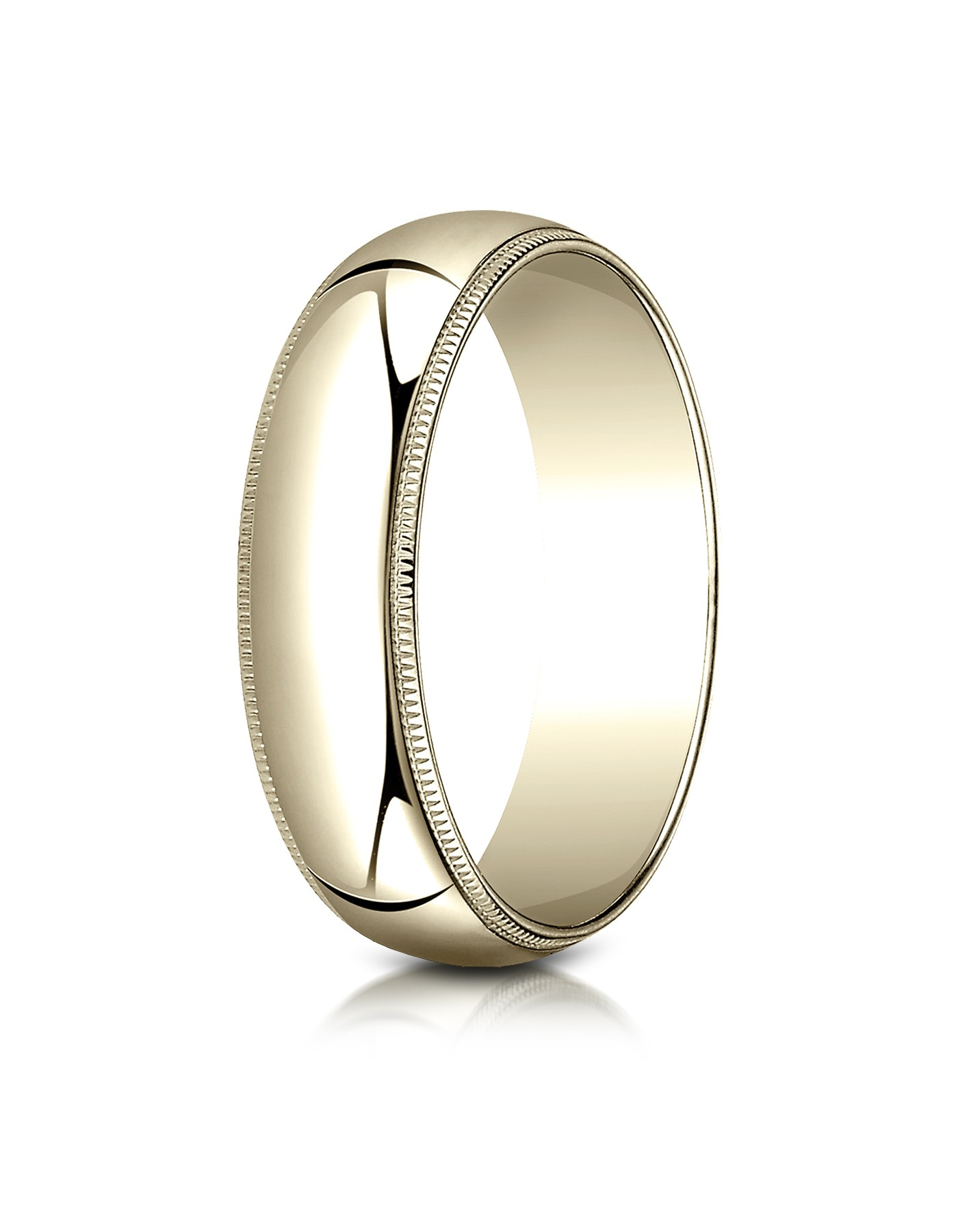 14k Yellow Gold 6mm Slightly Domed Traditional Oval Ring With Milgrain
