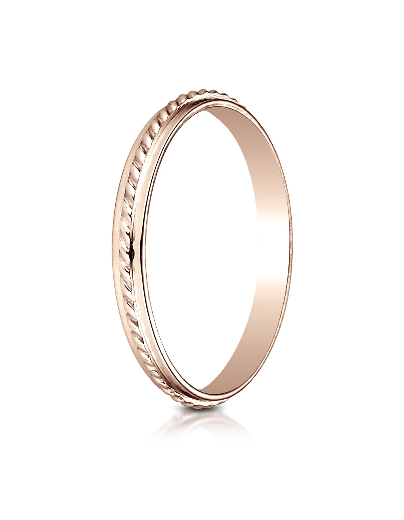 14k Rose Gold 2mm High Polished Rope Center Design Band