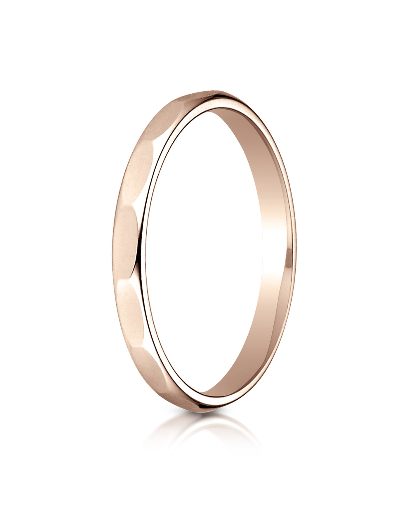 14k Rose Gold 2mm High Polished Faceted Design Band