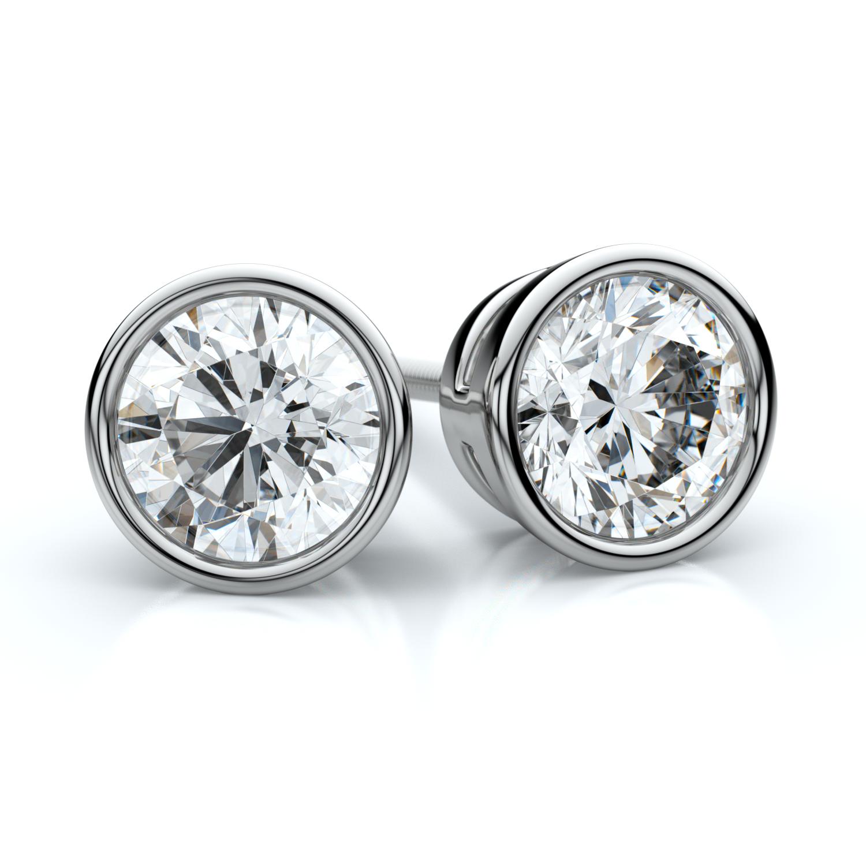 14k White Gold Bezel Round Diamond Stud Earrings 1 1/2ctw (5.8mm Ea) H-i, Si