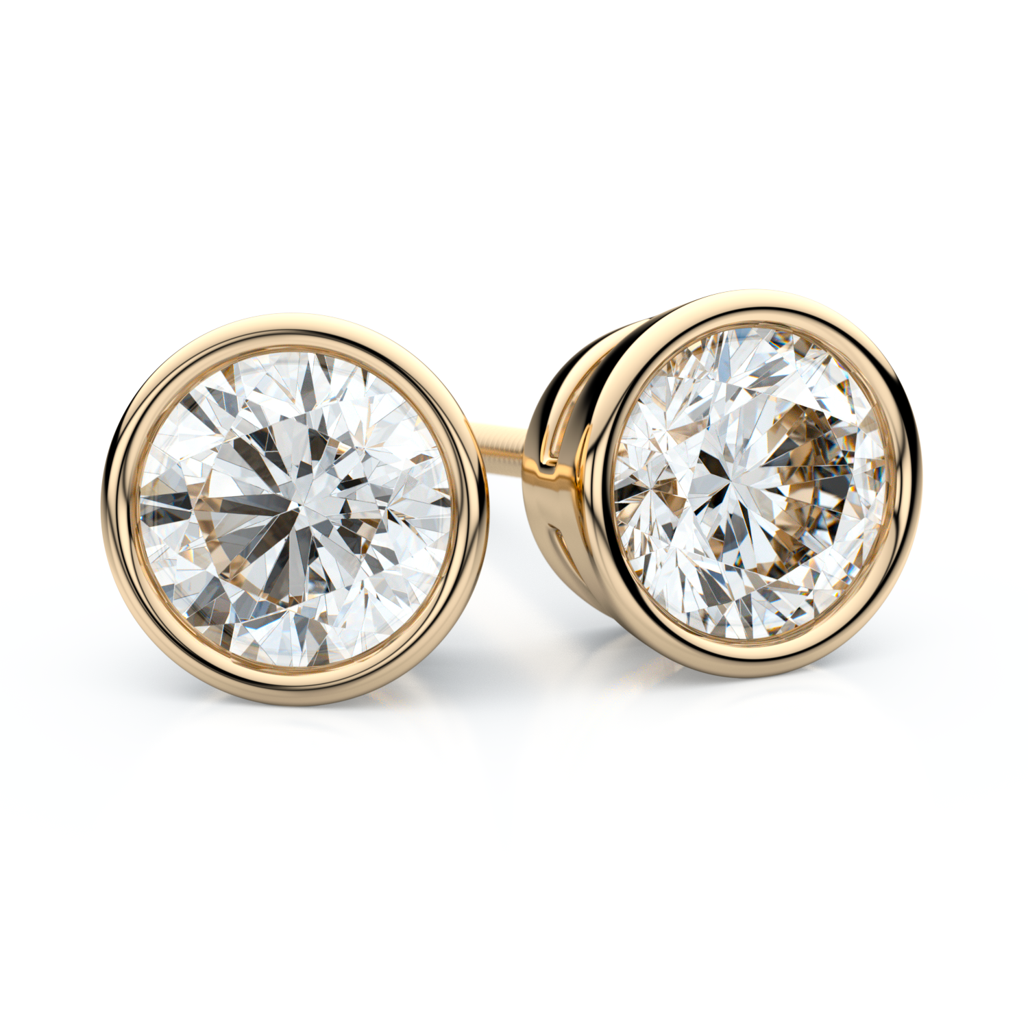 14k Yellow Gold Bezel Round Diamond Stud Earrings 1 1/2ctw (5.8mm Ea) H-i, Si
