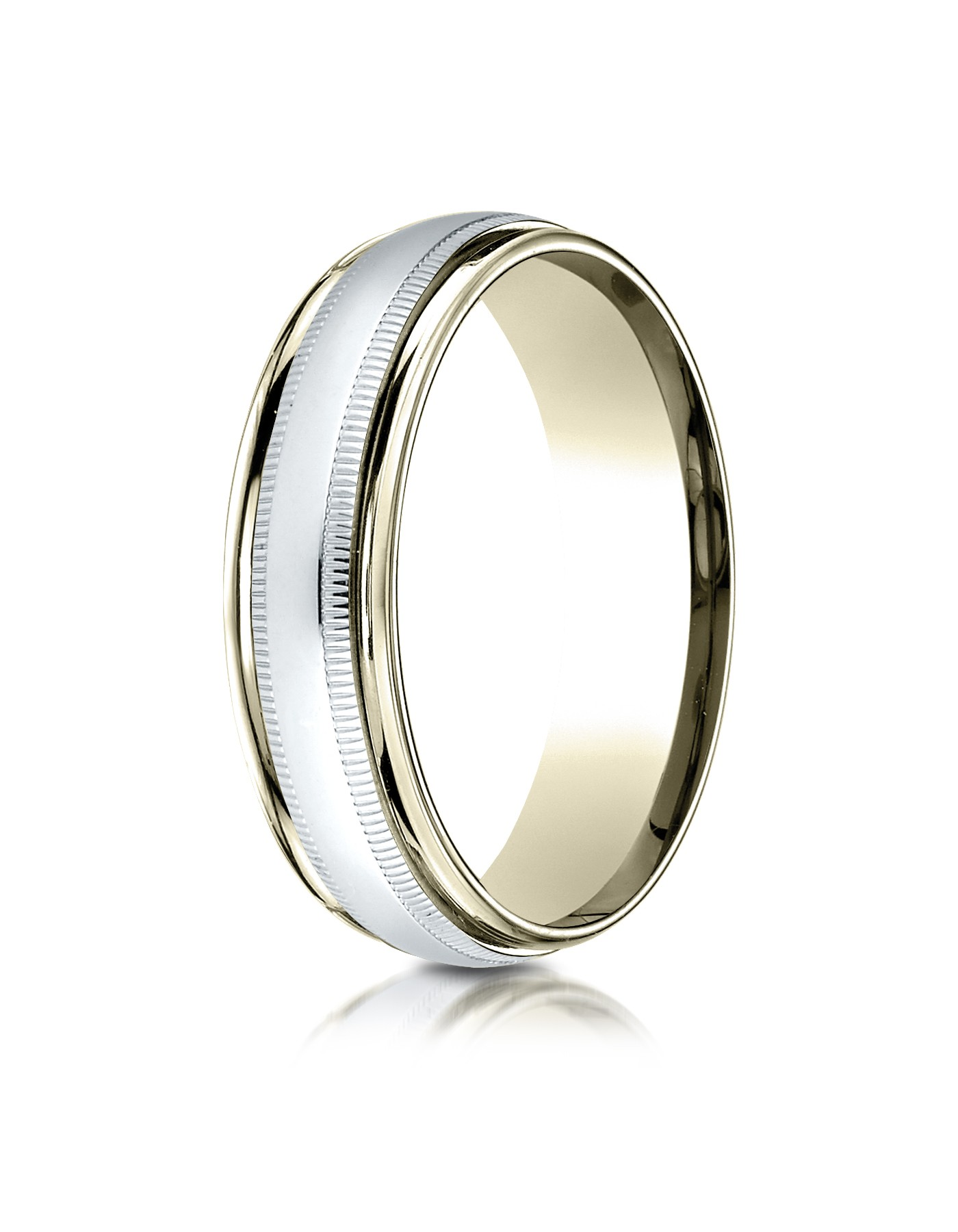 14k Two-toned 6mm Comfort-fit High Polished Carved Design Band With Milgrain