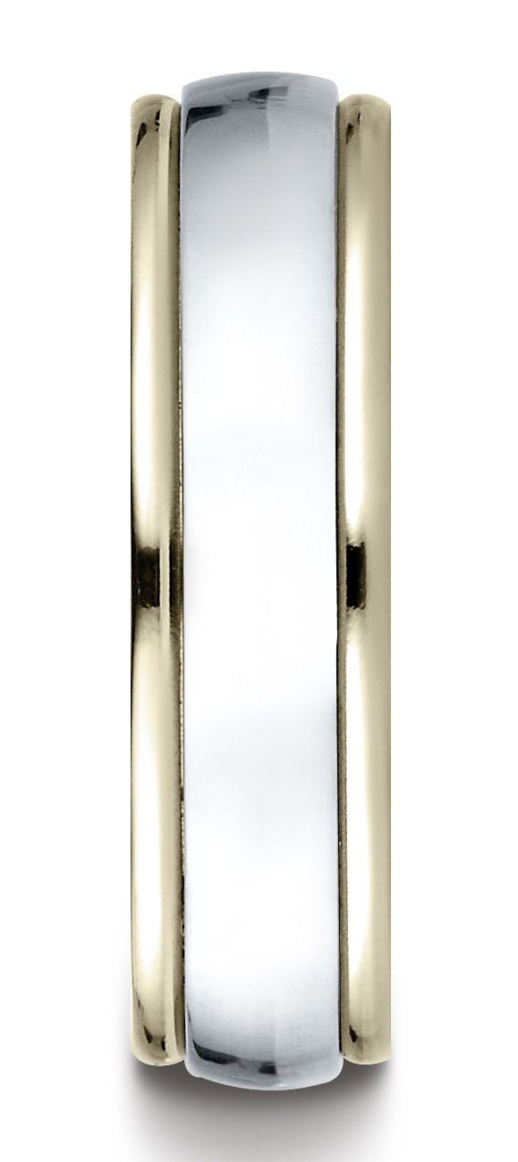 14k Two-toned 6mm Comfort-fit High Polished Carved Design Band