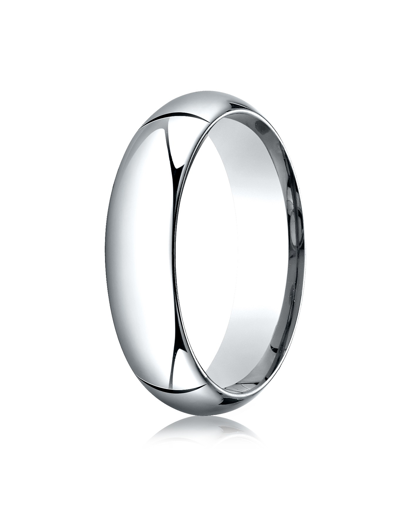 14k White Gold 6mm High Dome Comfort-fit Ring
