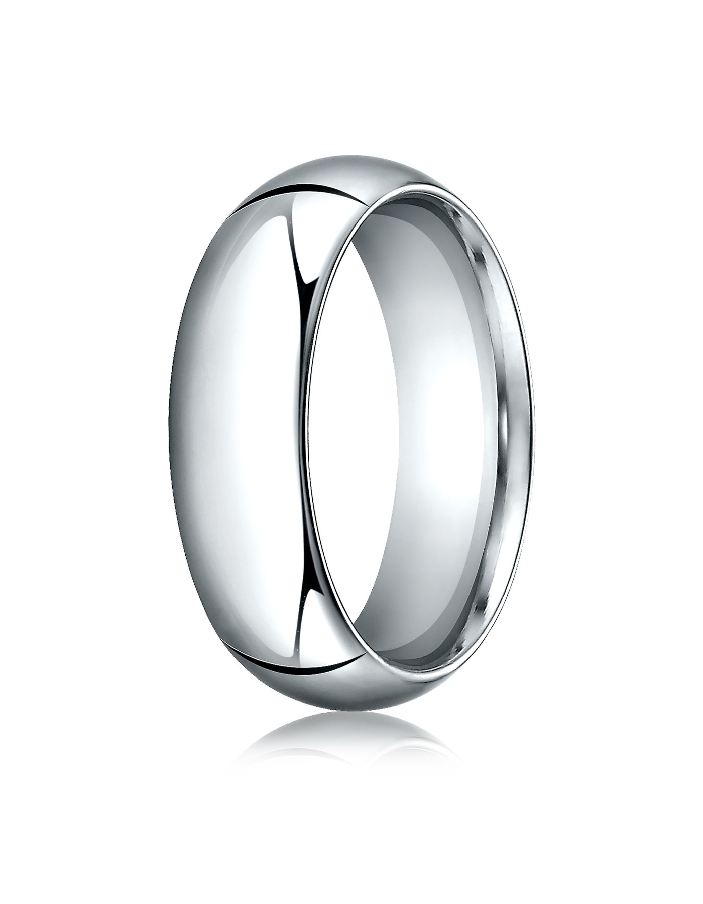 14k White Gold 7mm High Dome Comfort-fit Ring