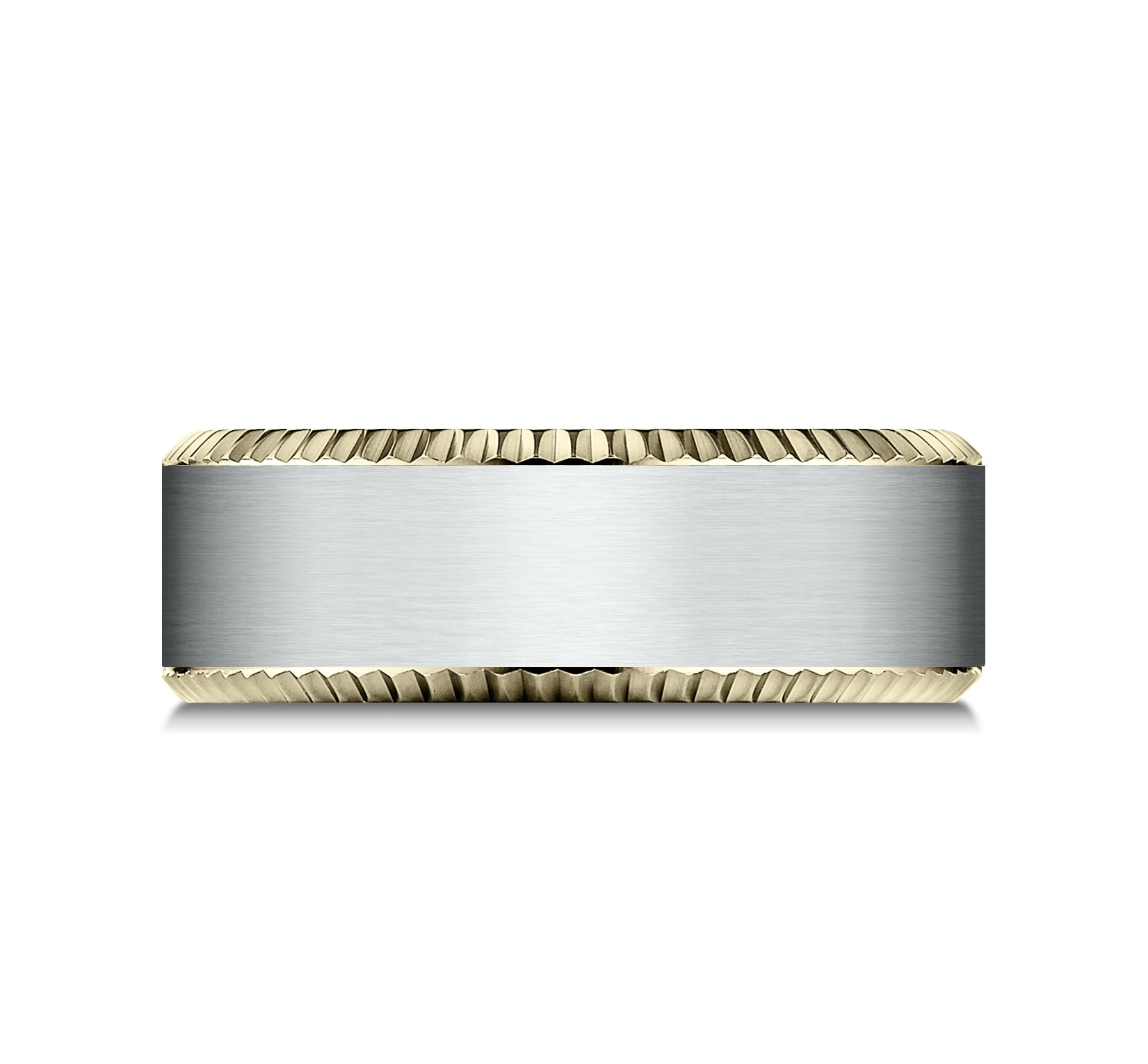 14k Two Tone 8mm Comfort Fit Coin Edge Satin Center Design Band