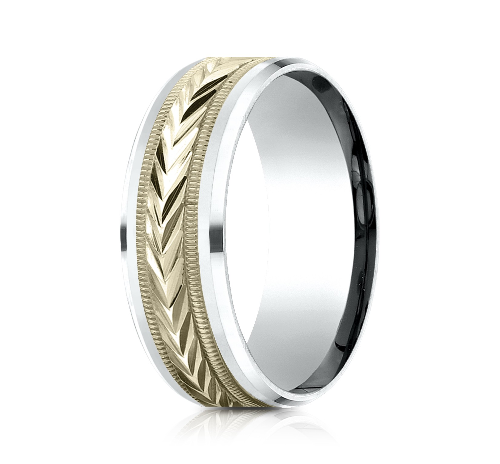 14k Two Tone 8mm Comfort Fit Drop Bevel Wheat Pattern Design Band