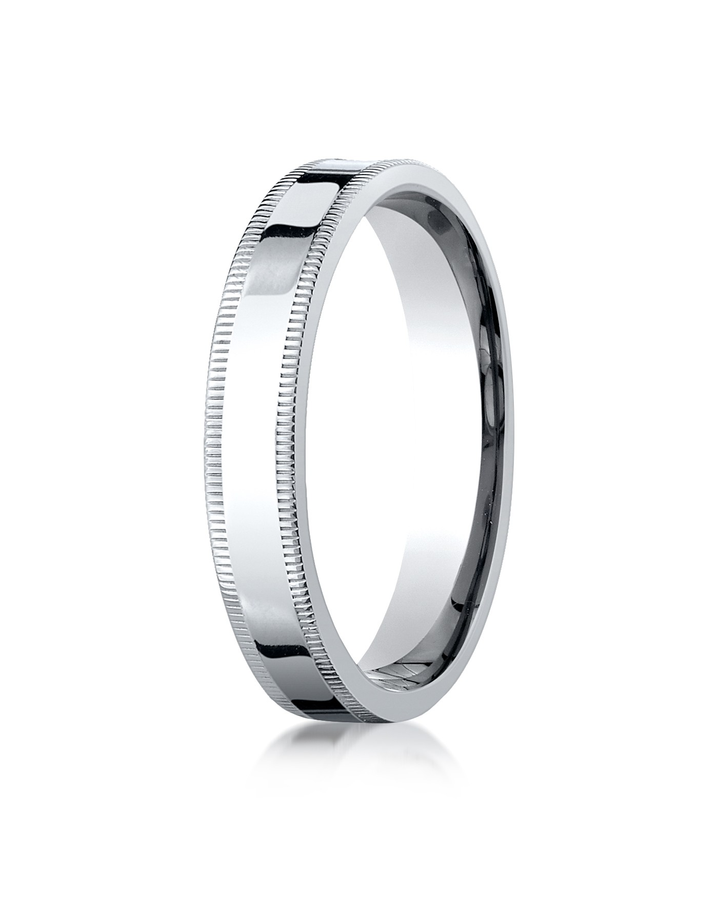 14k White Gold 4mm Flat Comfort-fit Ring With Milgrain